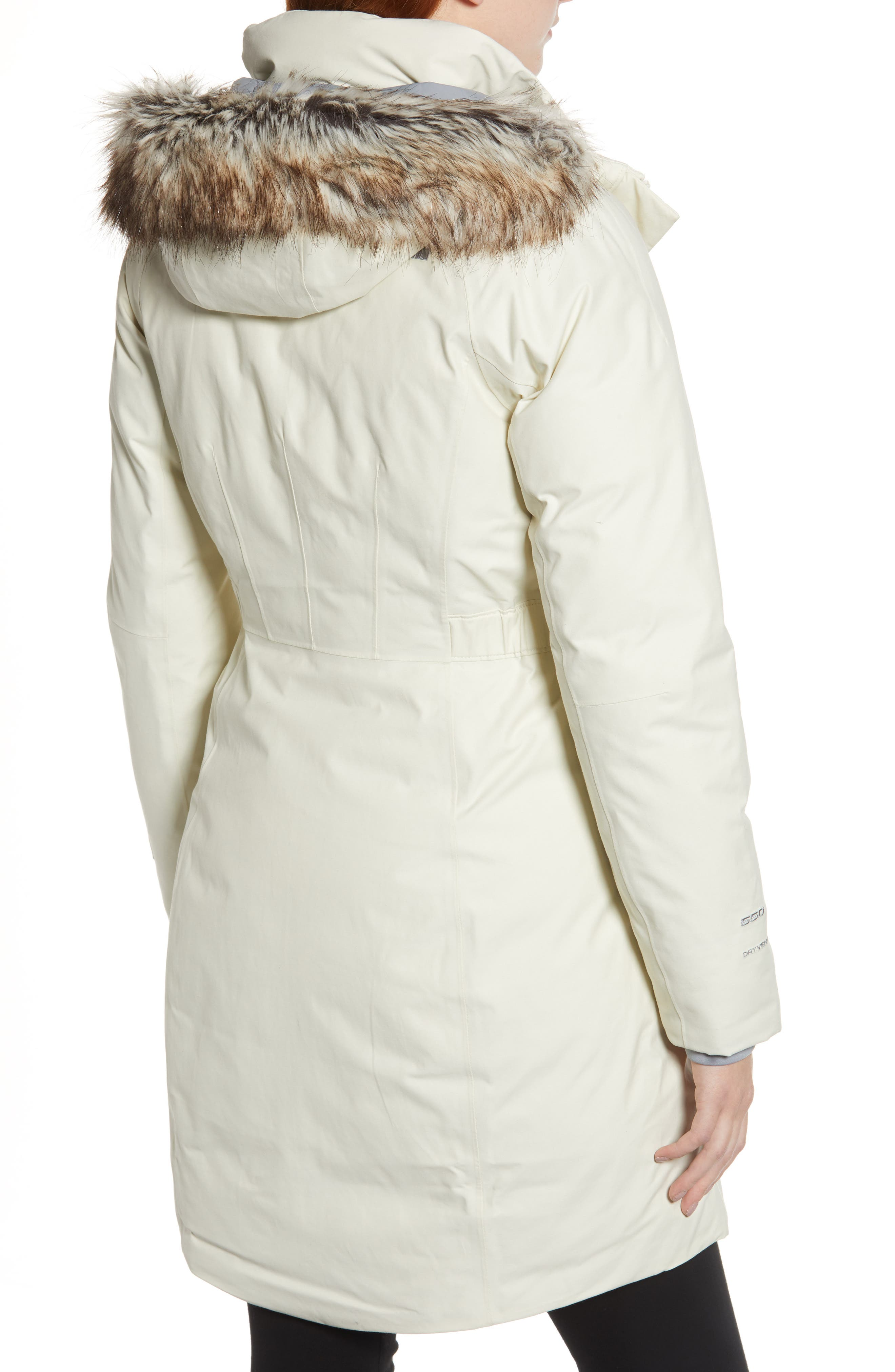 Arctic II Waterproof 550 Fill Power Down Parka with Faux Fur Trim,                             Alternate thumbnail 2, color,                             VINTAGE WHITE