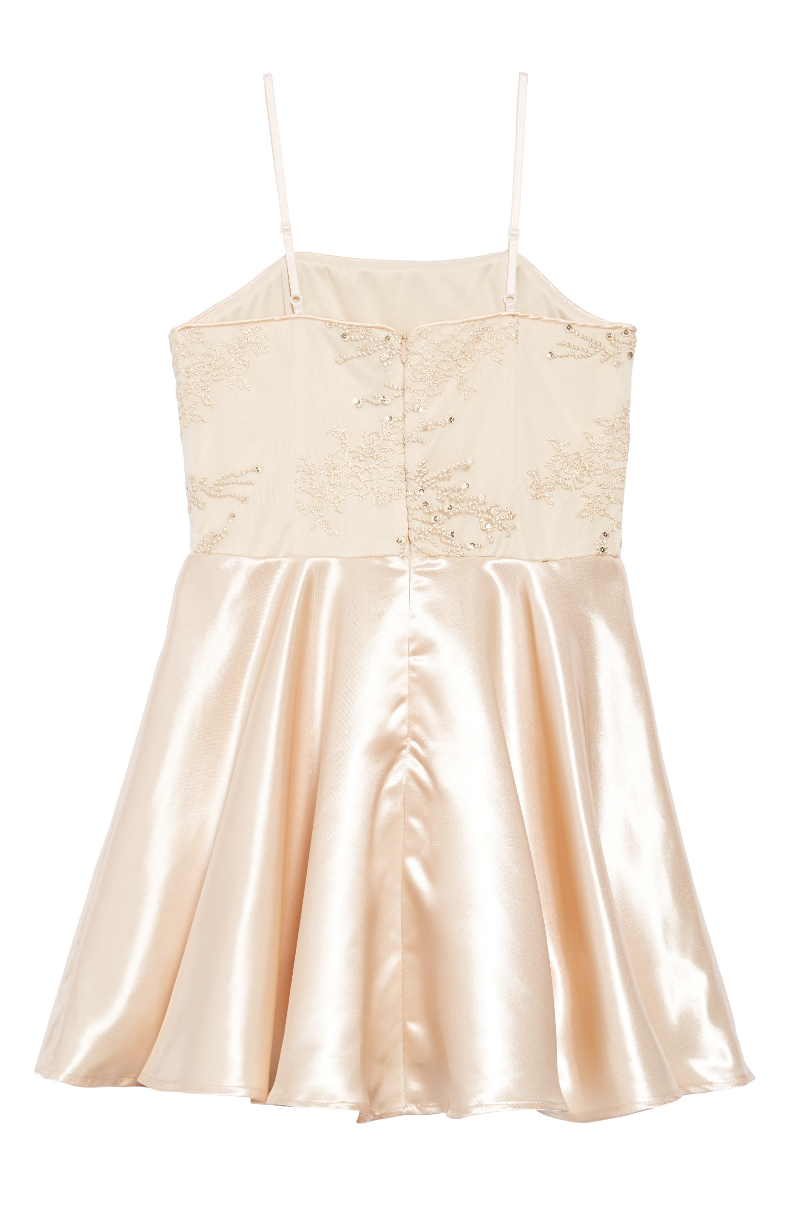 Embellished Satin Dress,                             Alternate thumbnail 2, color,                             GOLD