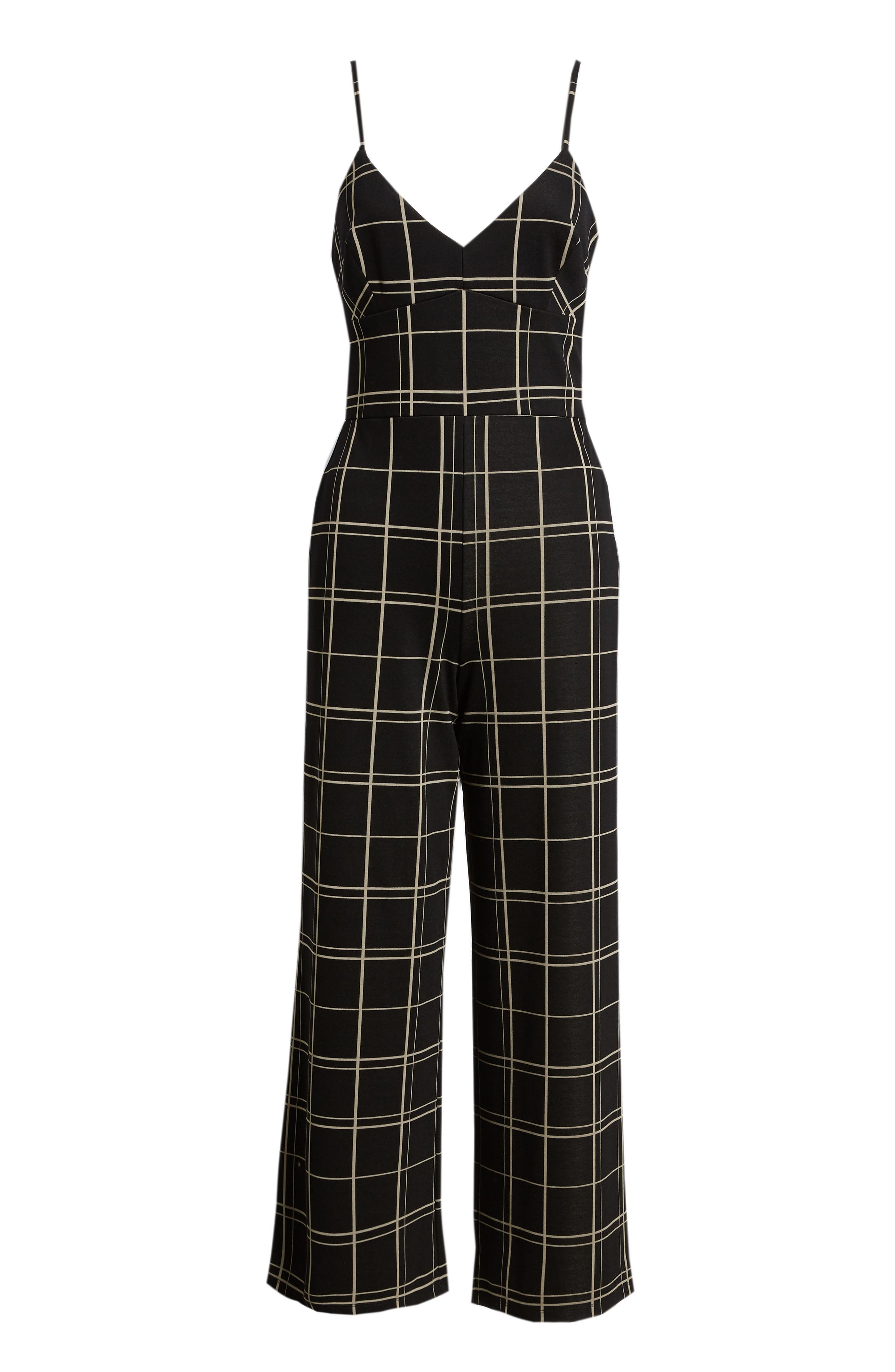 Windowpane Check Jumpsuit,                             Alternate thumbnail 7, color,                             BLACK GLAM CITY WINDOWS