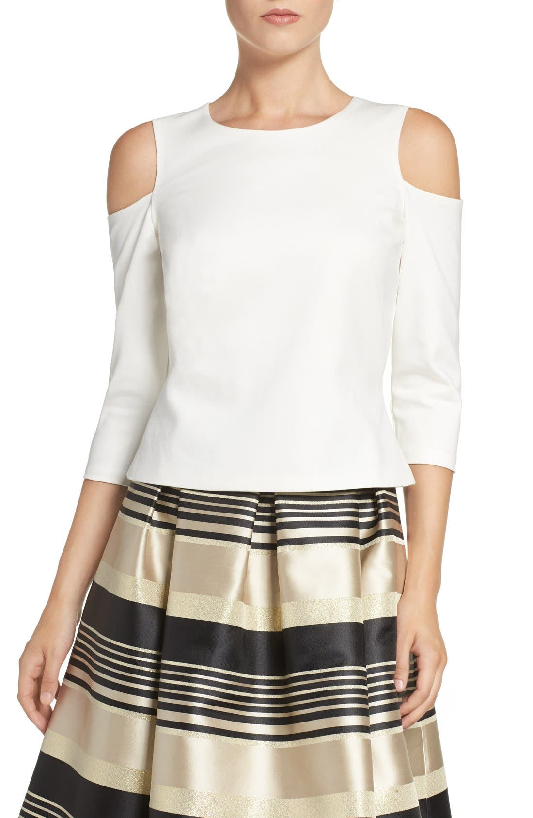 Cold Shoulder Top,                         Main,                         color, IVORY