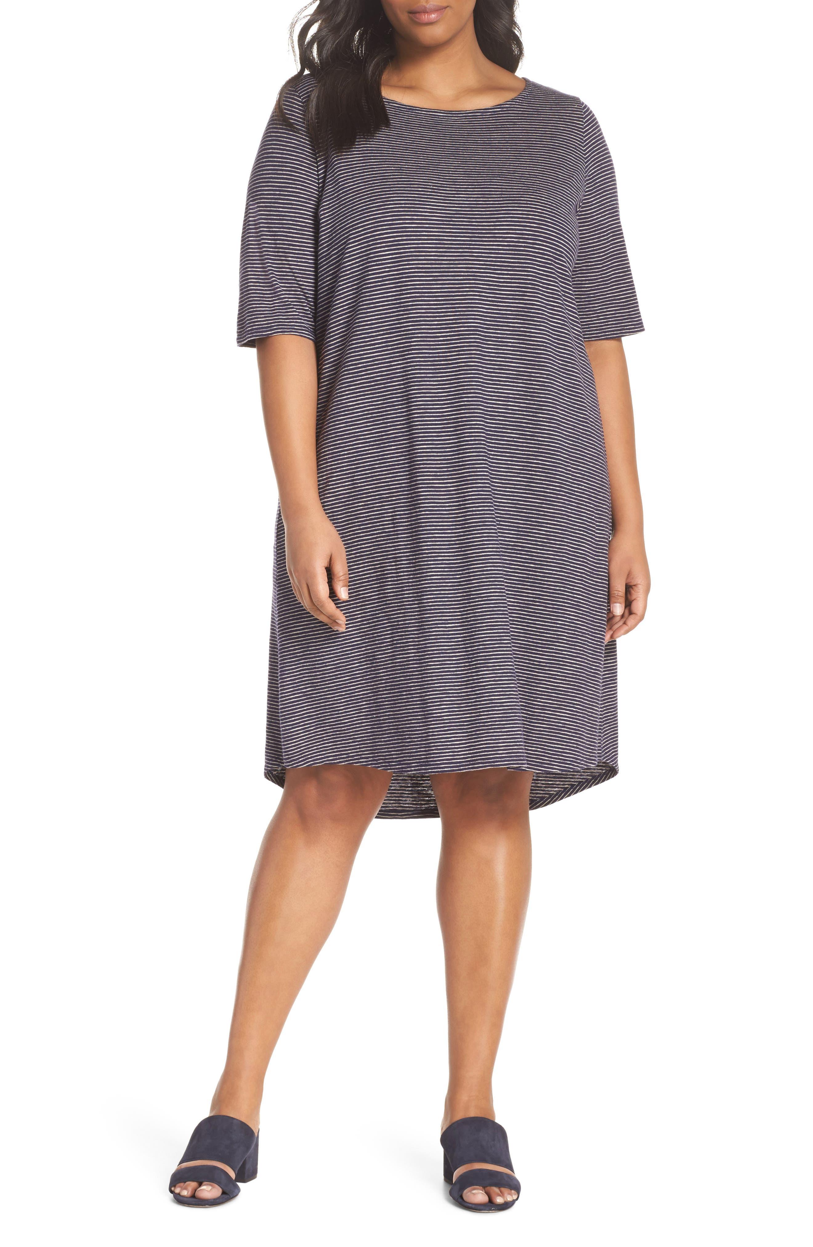 Stripe Hem & Cotton T-Shirt Dress,                             Main thumbnail 1, color,                             465