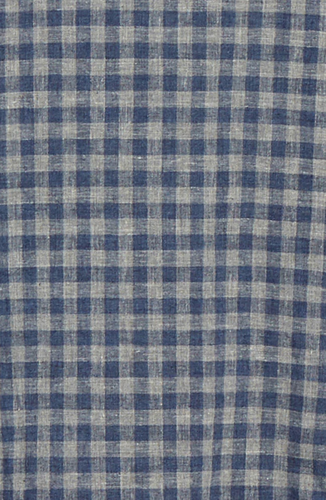 1901,                             Button Down Heather Gingham Linen Blend Sport Shirt,                             Alternate thumbnail 6, color,                             GREY OIL NAVY GINGHAM