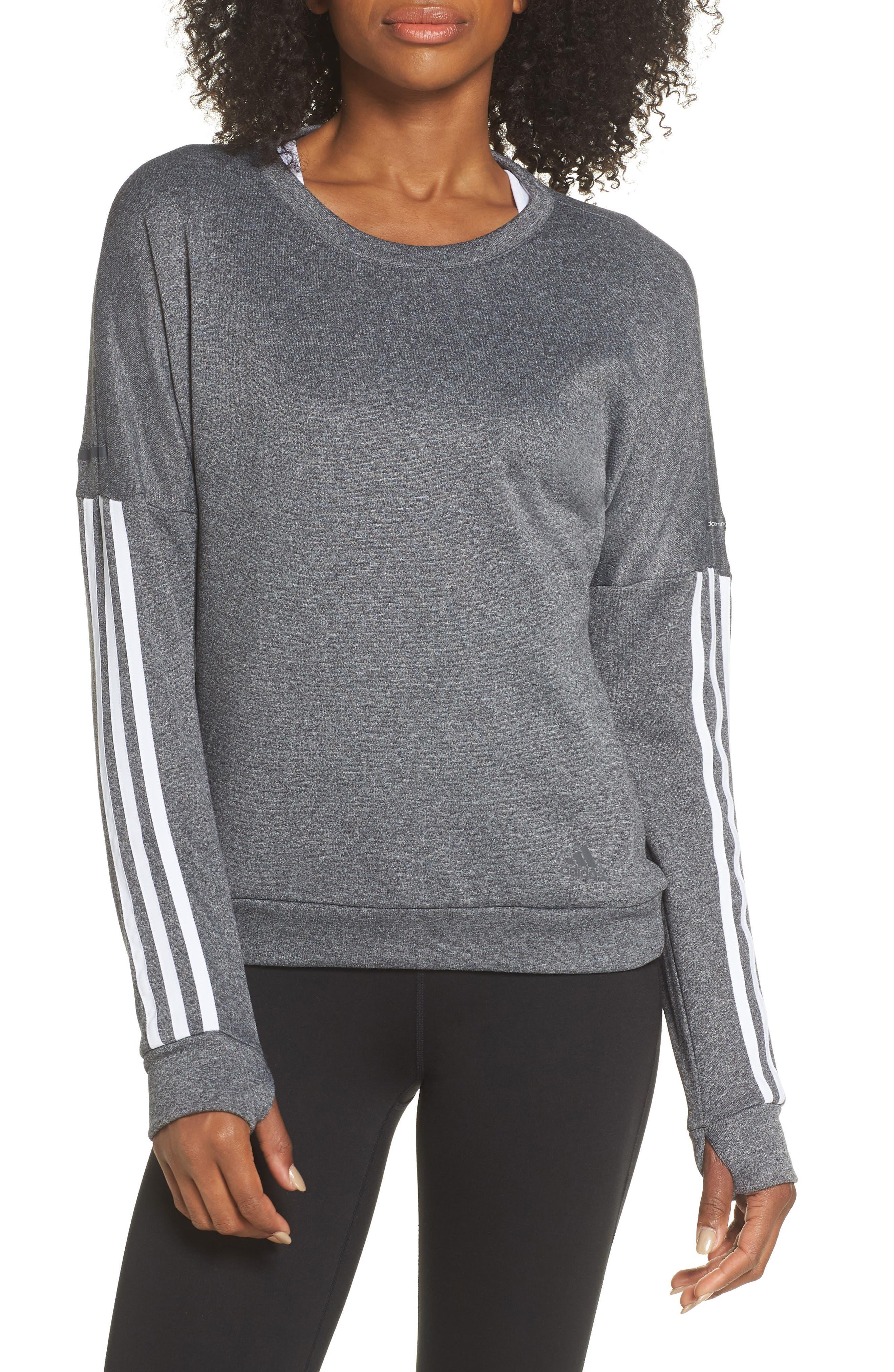 3-Stripes Running Sweatshirt,                             Main thumbnail 1, color,                             DARK GREY HEATHER