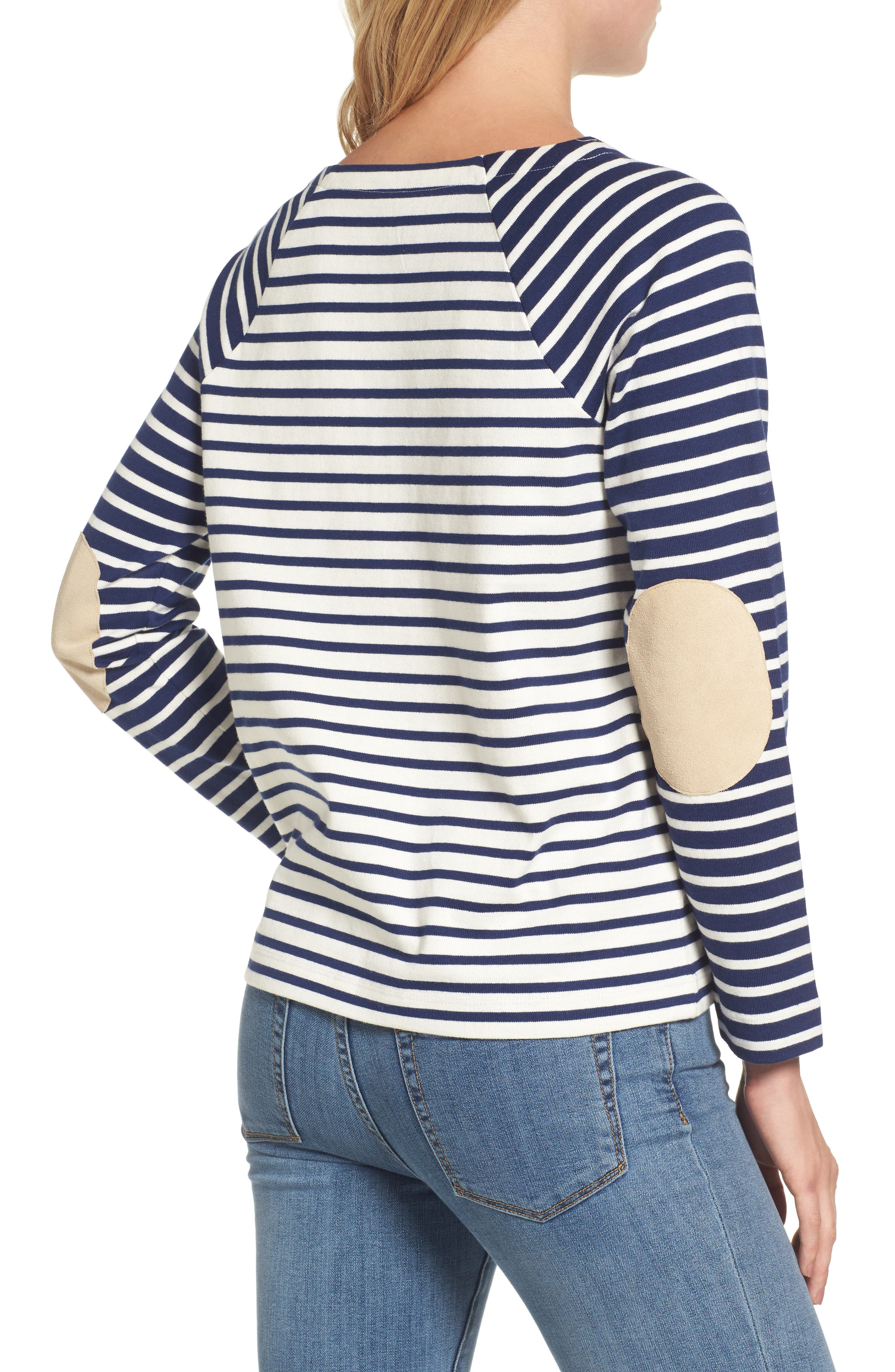 Elbow Patch Mixed Stripe Top,                             Alternate thumbnail 2, color,