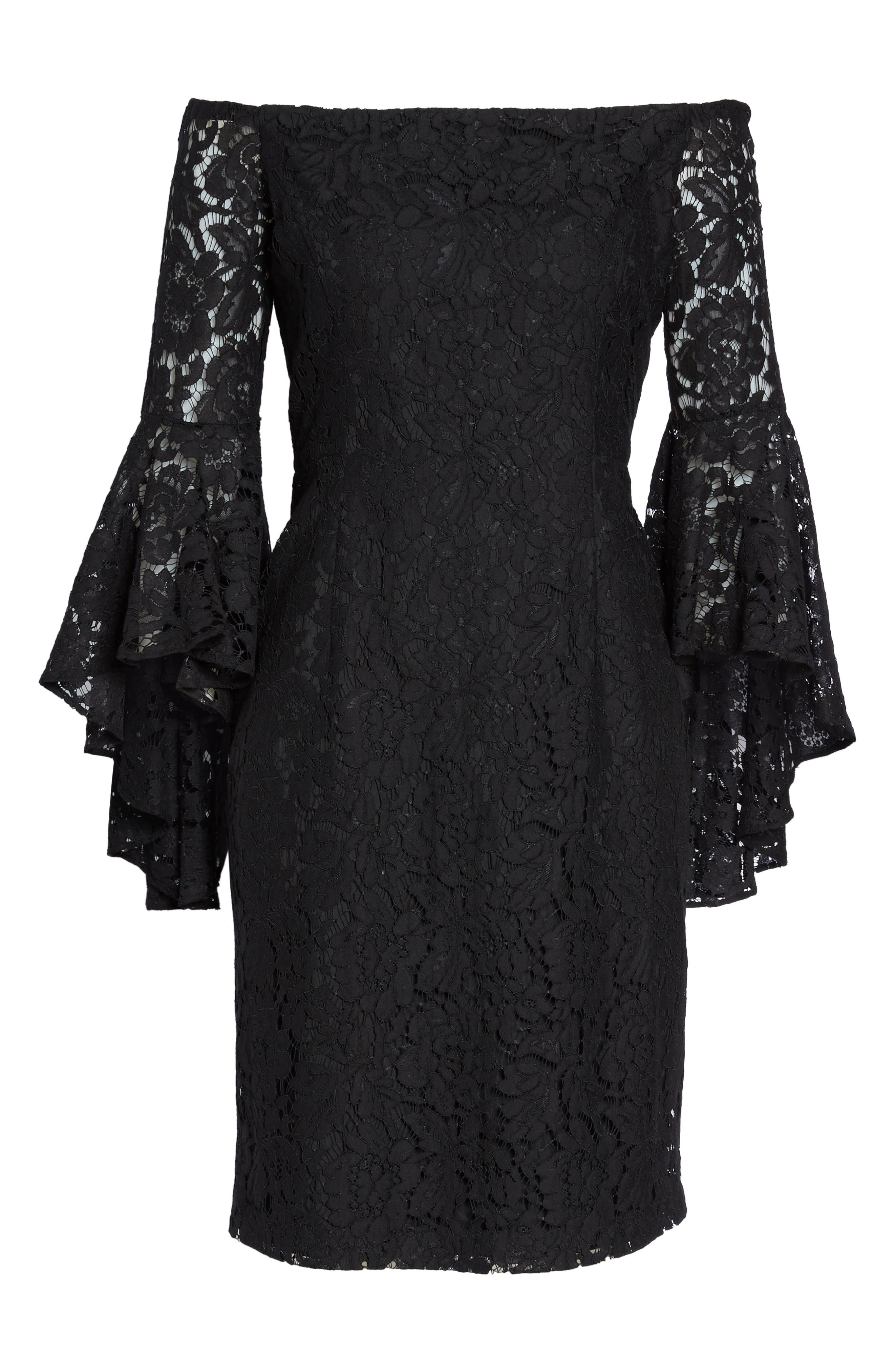 Off the Shoulder Lace Dress,                             Alternate thumbnail 6, color,                             001