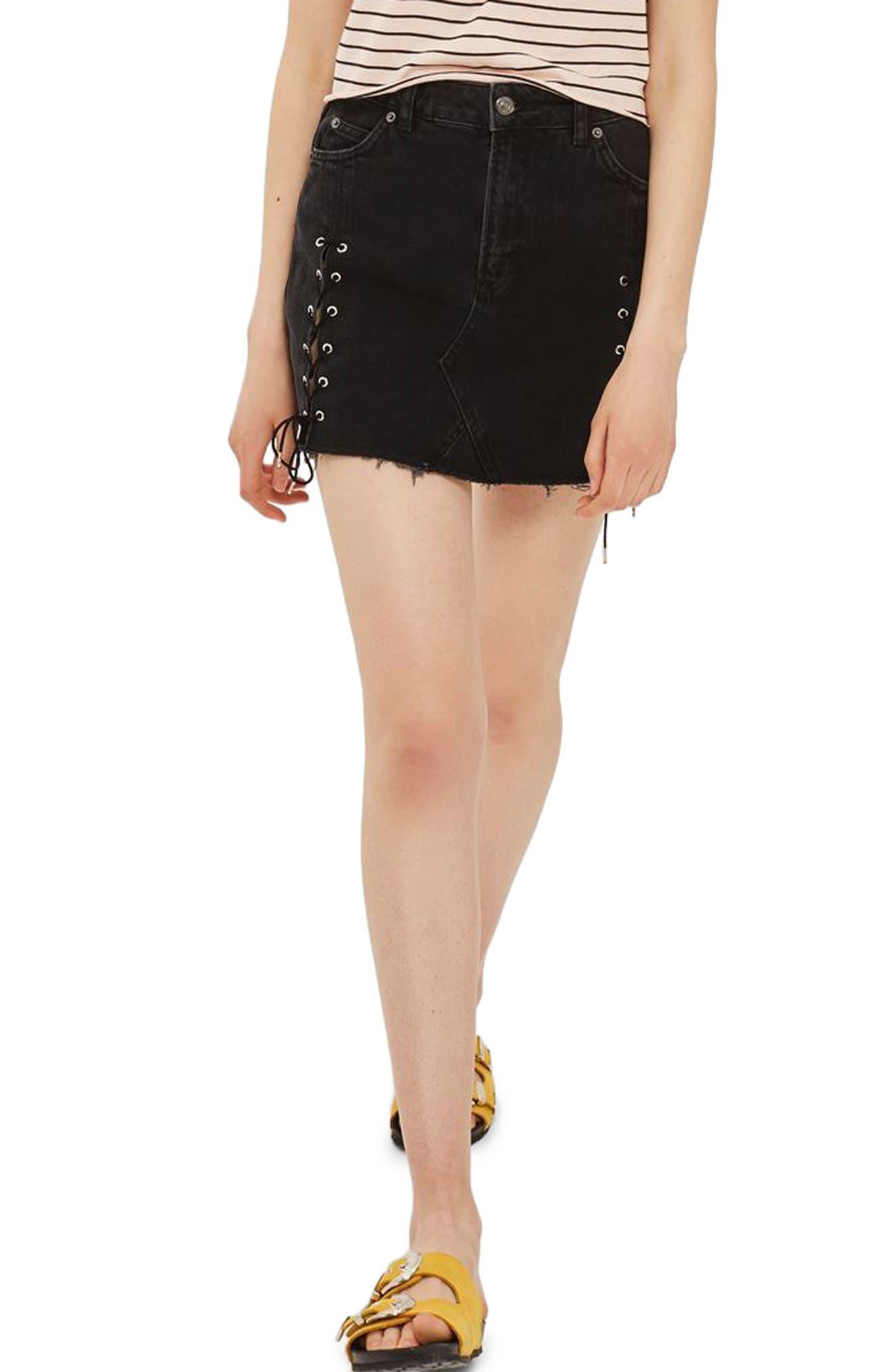 Lace-Up Denim Miniskirt,                             Main thumbnail 1, color,                             001