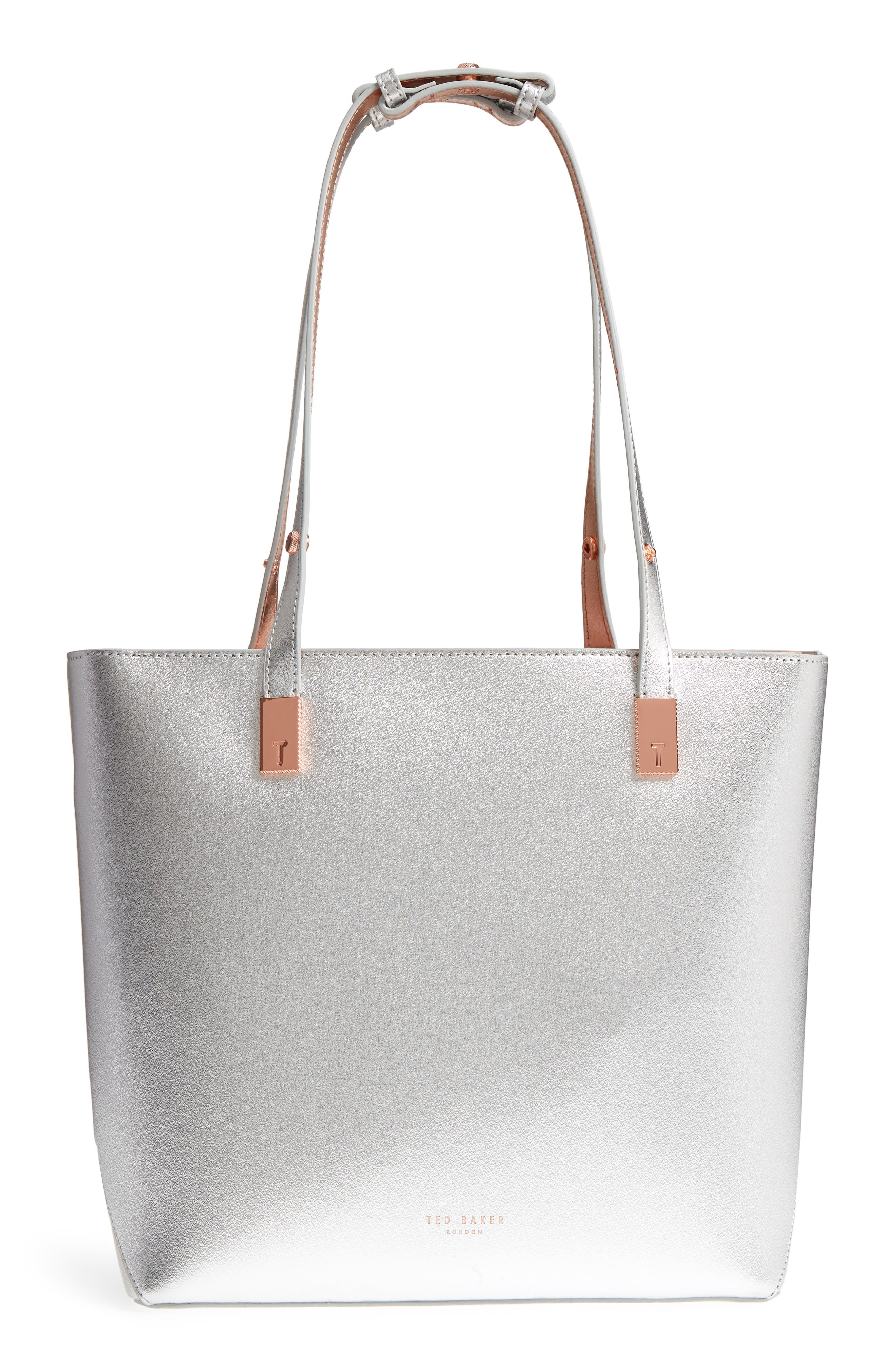 Adjustable Handle Leather Tote,                             Alternate thumbnail 3, color,                             SILVER