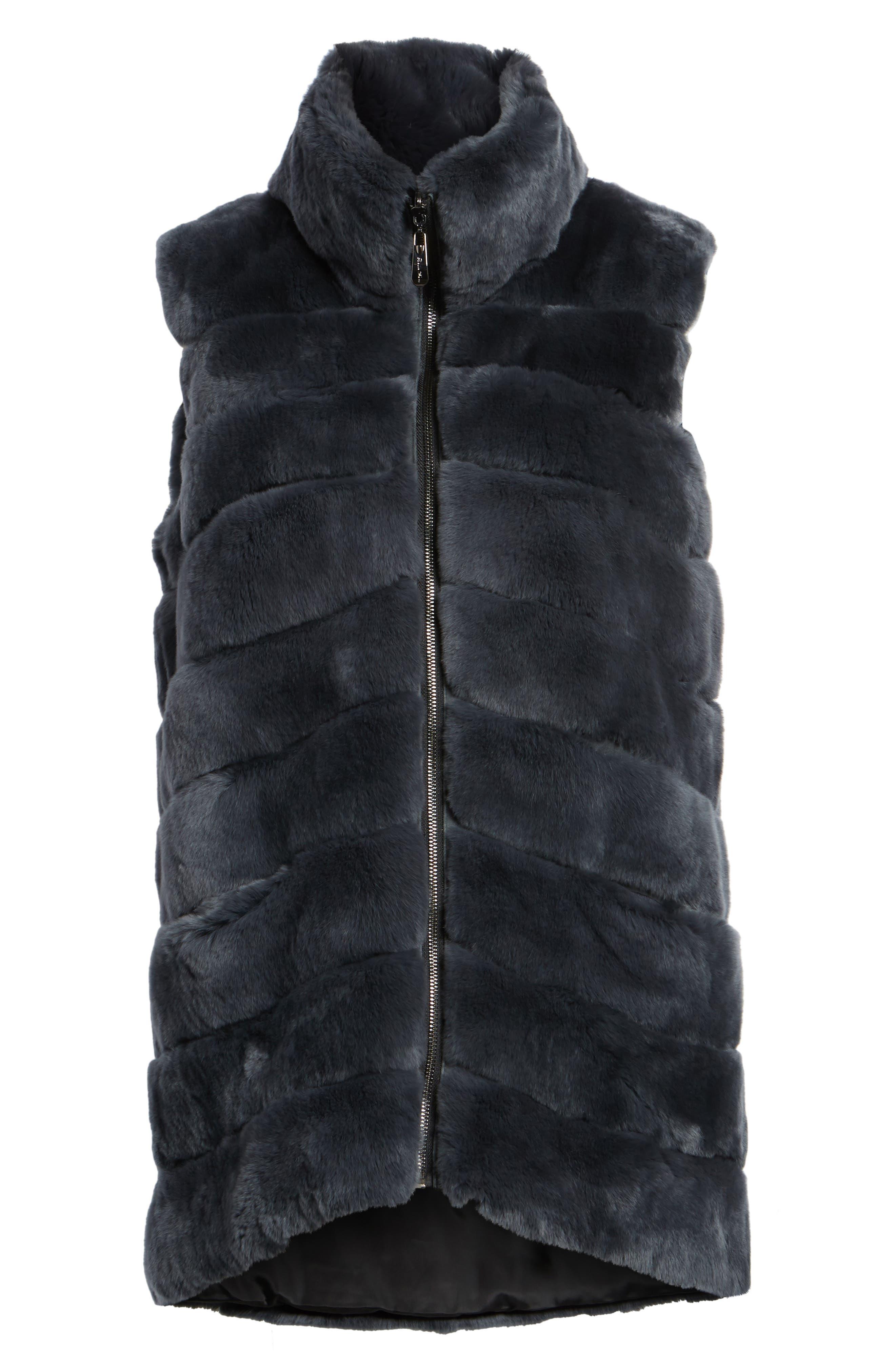 Reversible Genuine Rabbit Fur Vest,                             Alternate thumbnail 5, color,                             410