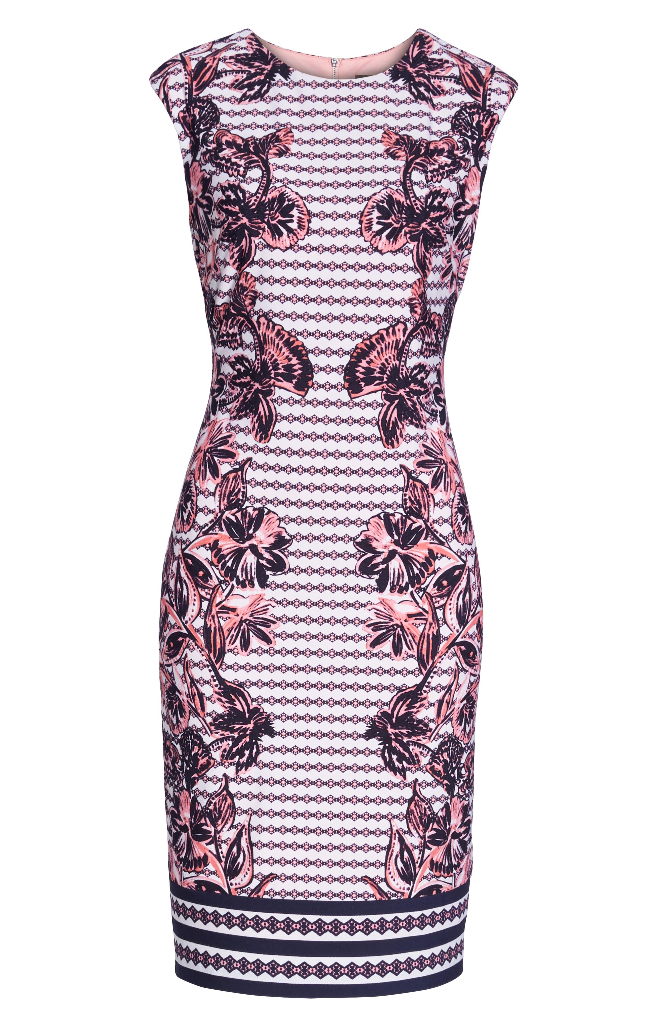 Print Scuba Crepe Sheath Dress,                             Alternate thumbnail 7, color,                             410