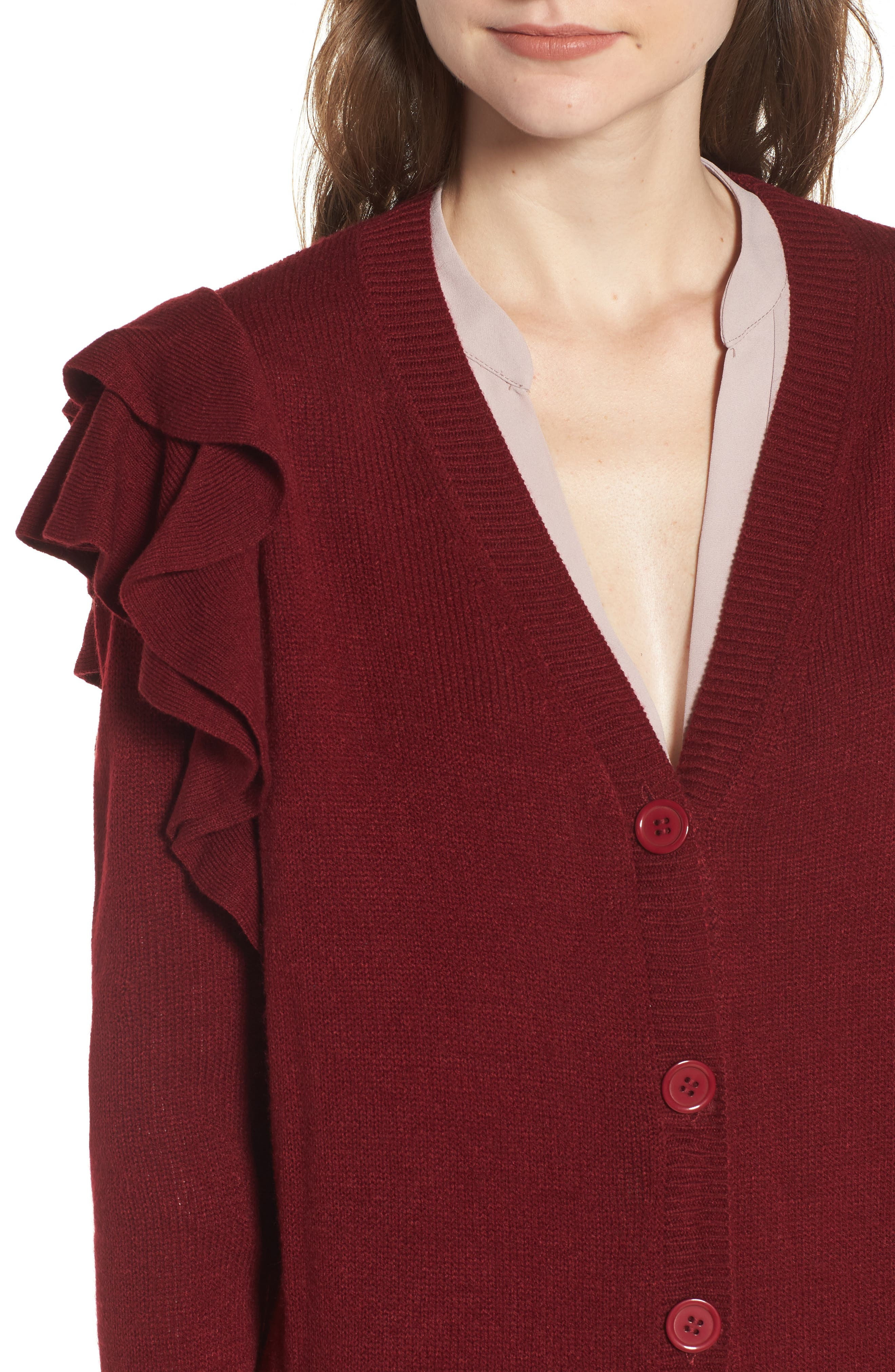 Ruffle Shoulder Cardigan,                             Alternate thumbnail 12, color,