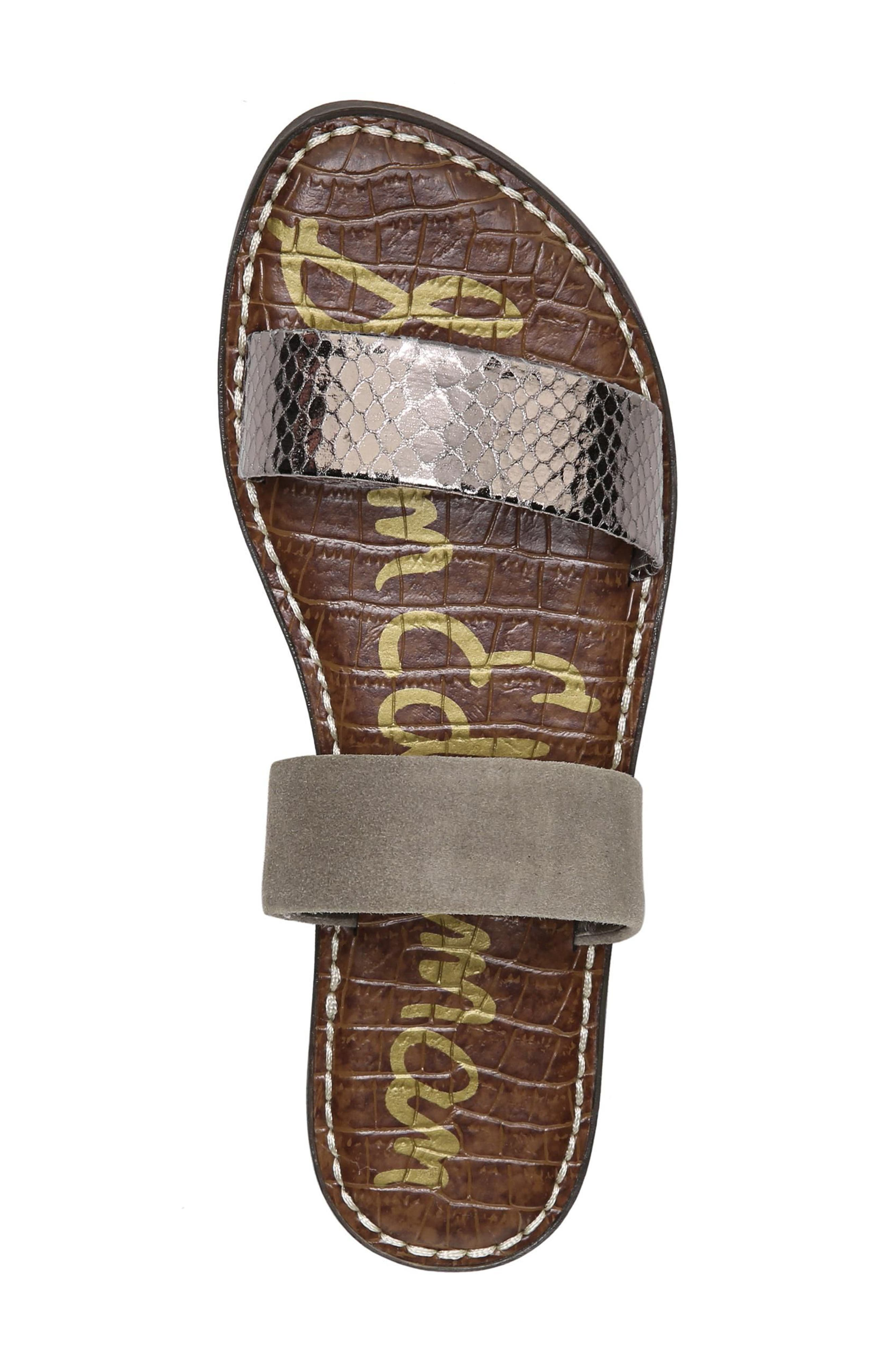 Gala Two Strap Slide Sandal,                             Alternate thumbnail 5, color,                             PEWTER/ PUTTY