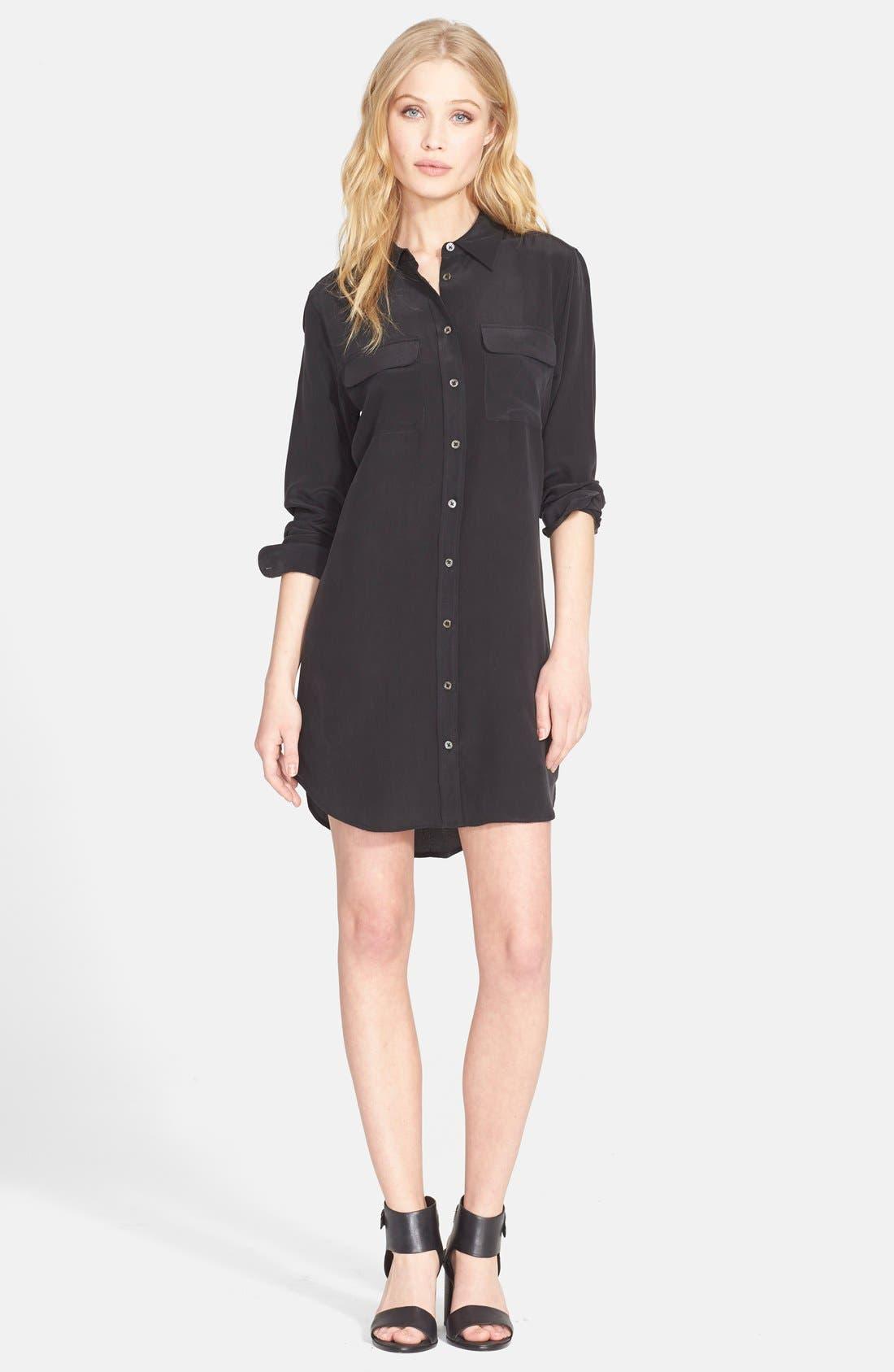 'Signature' Silk Shirtdress,                         Main,                         color, 003