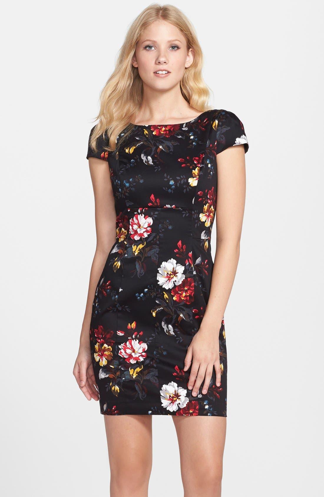 'Gardini' Floral Print Cotton Sheath Dress,                             Main thumbnail 1, color,                             006