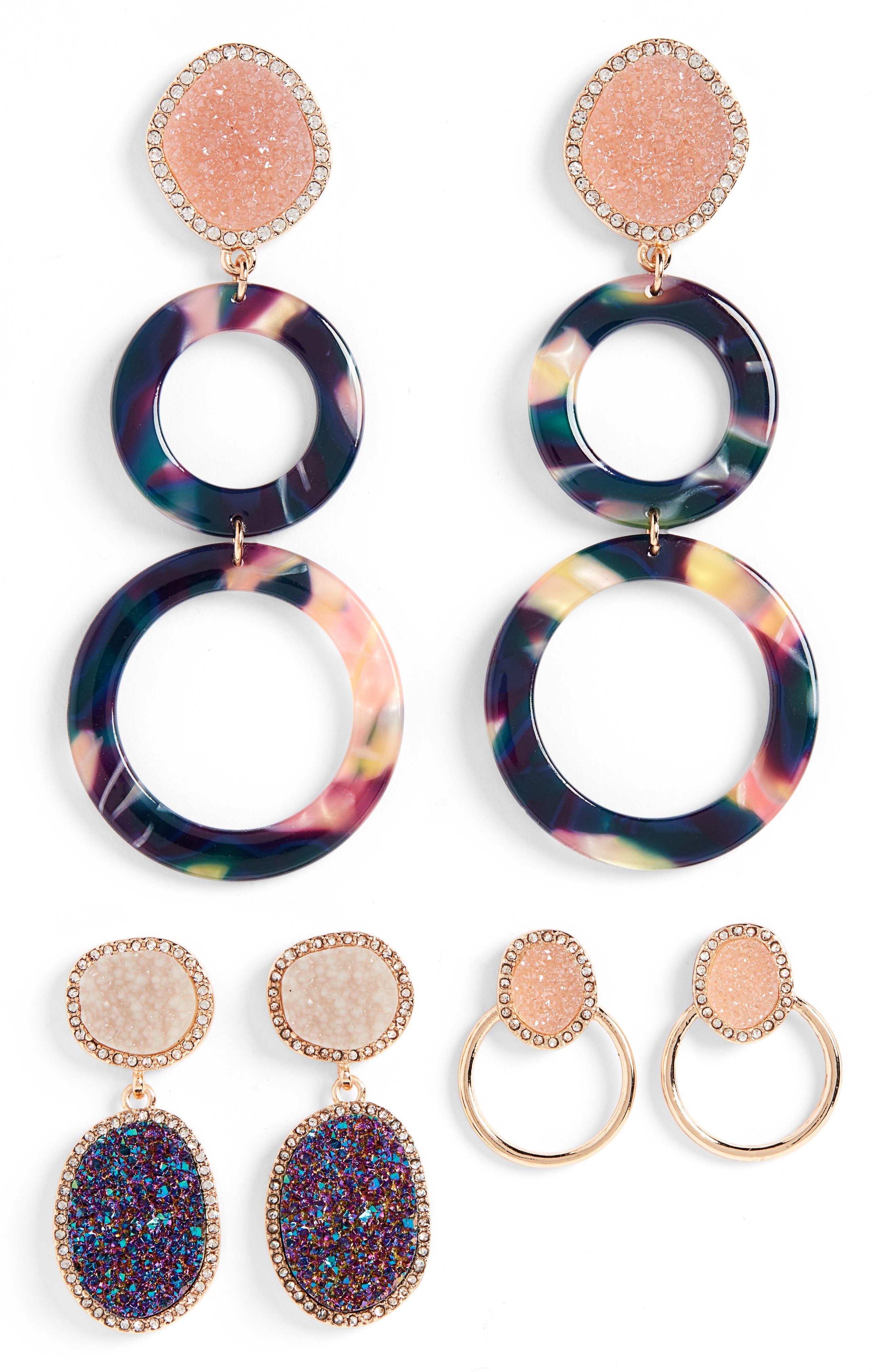 Set of 3 Hoop & Drop Earrings,                             Main thumbnail 1, color,                             MULTI
