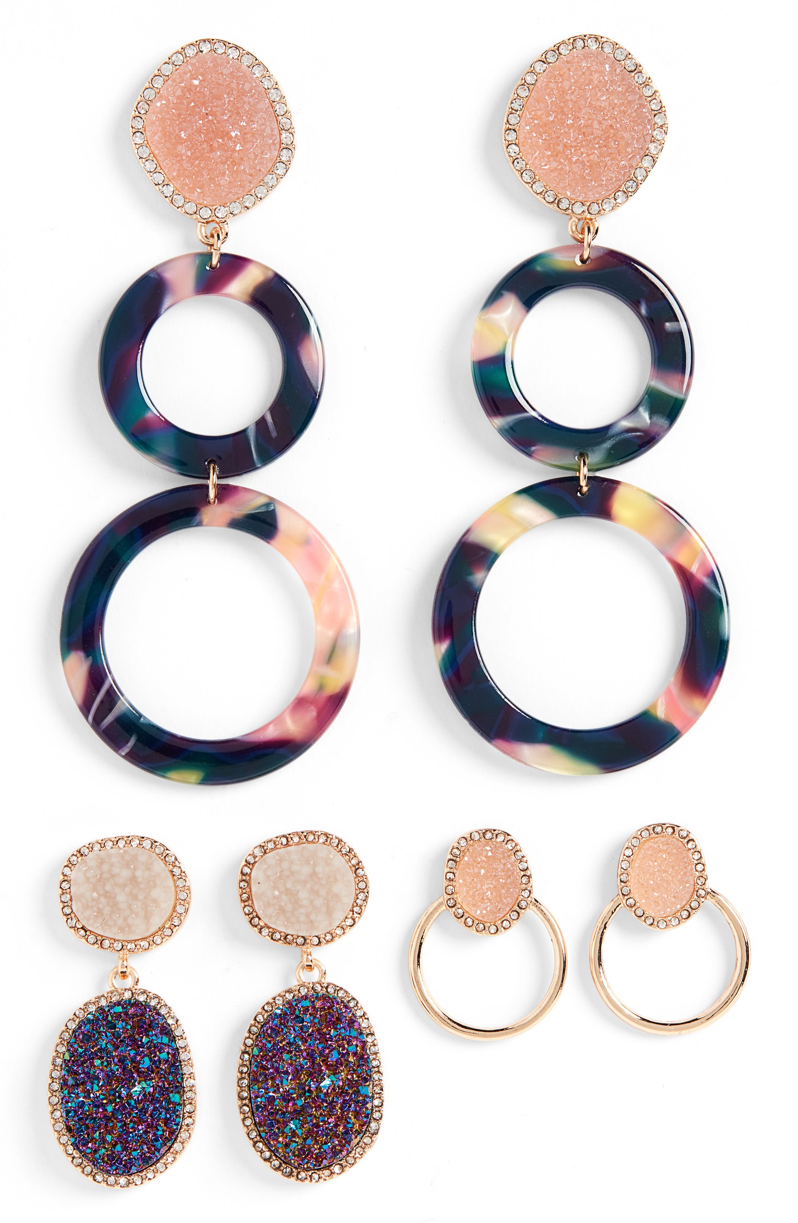 Set of 3 Hoop & Drop Earrings, Main, color, MULTI