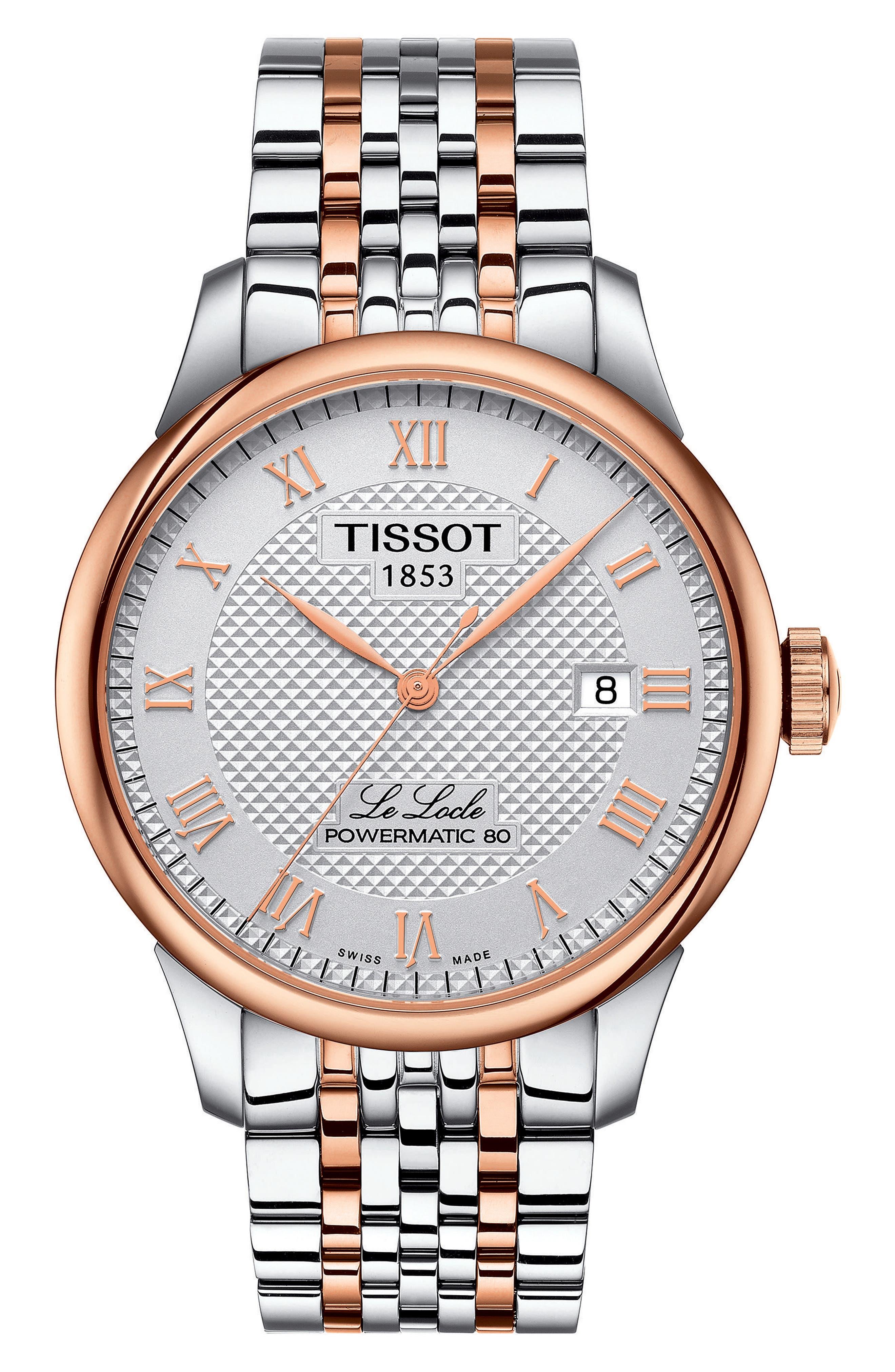 Le Locle Bracelet Watch, 39mm,                             Main thumbnail 1, color,                             SILVER/ ROSE GOLD