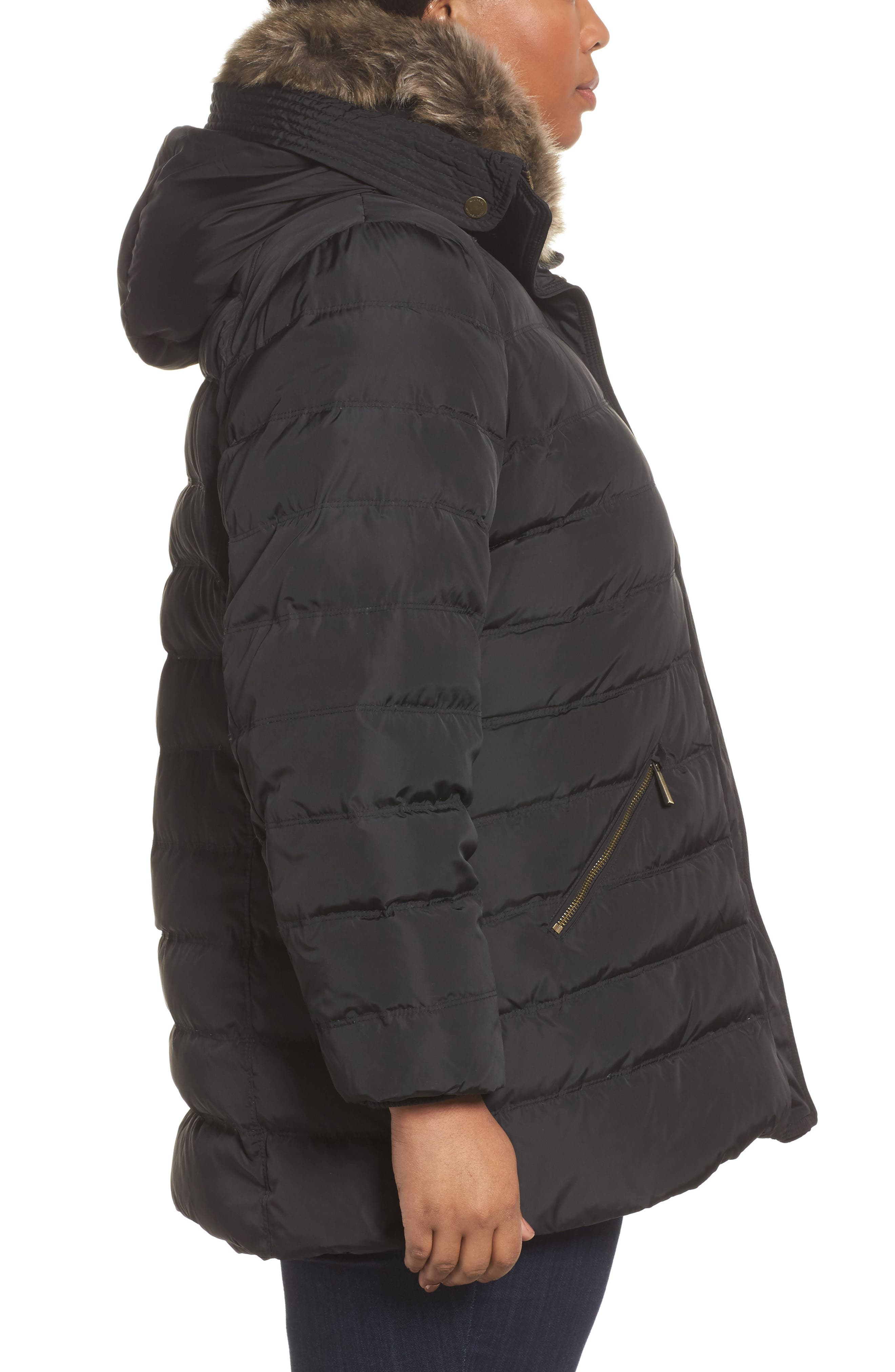Down & Feather Hooded Coat with Faux Fur Trim,                             Alternate thumbnail 3, color,                             001