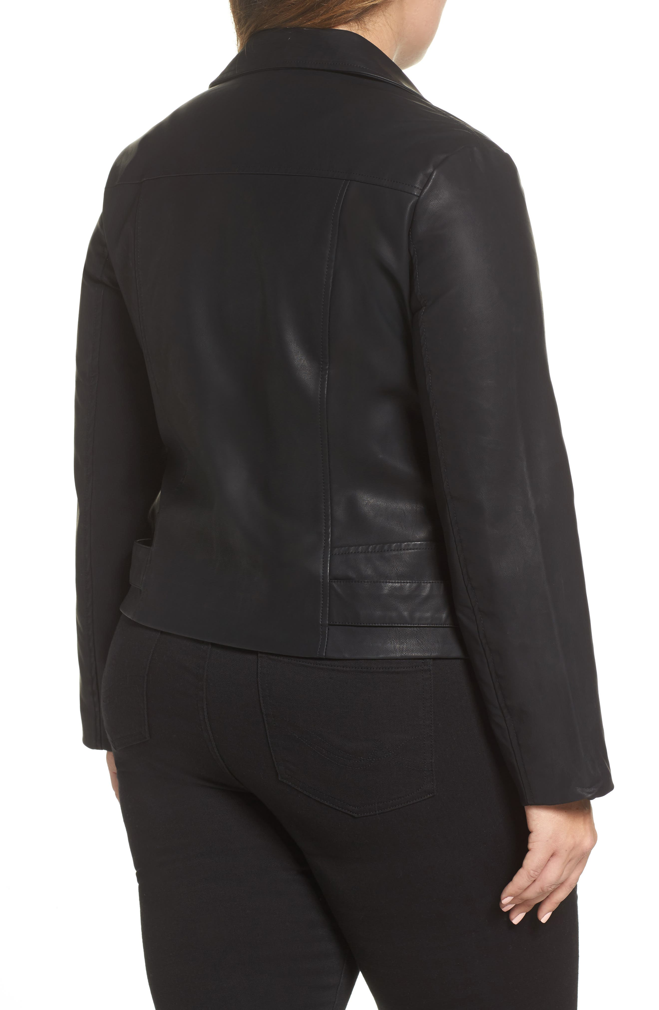 Faux Leather Moto Jacket,                             Alternate thumbnail 2, color,                             001