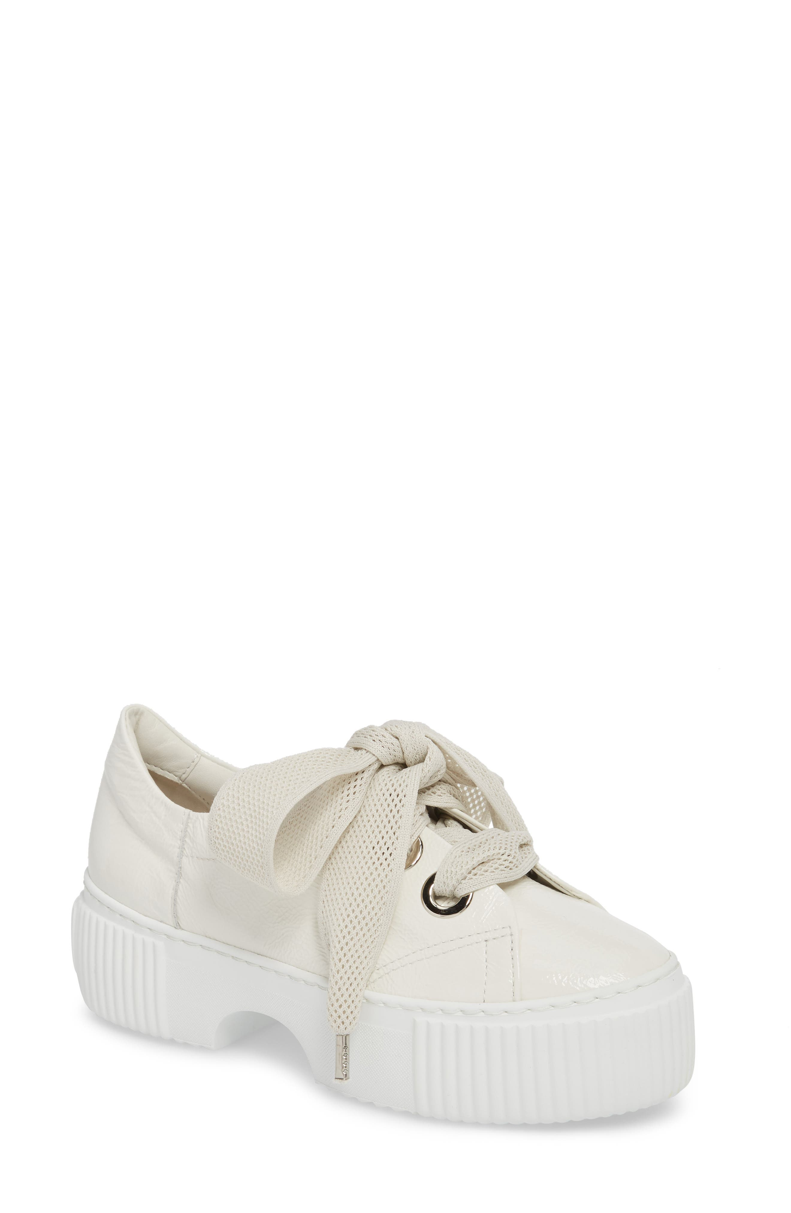 Platform Sneaker,                             Main thumbnail 1, color,                             WHITE GLAMMY LEATHER