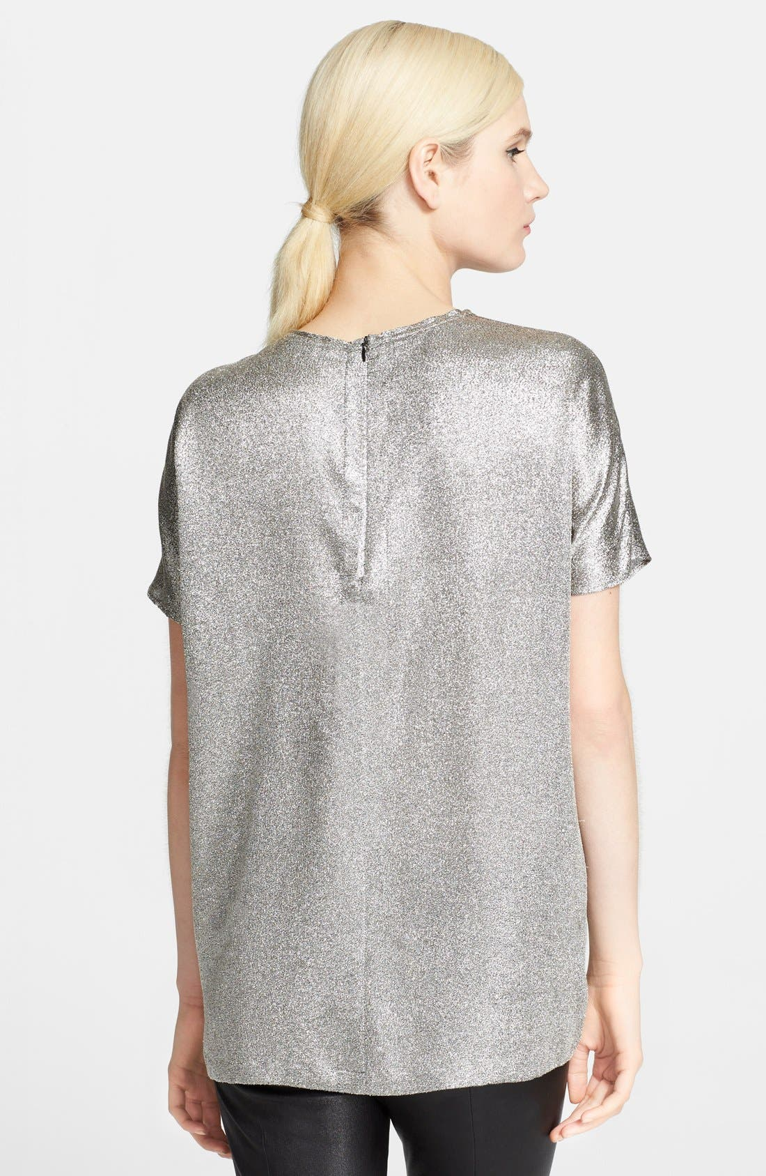 Crepe Lamé Tee,                             Alternate thumbnail 3, color,                             040