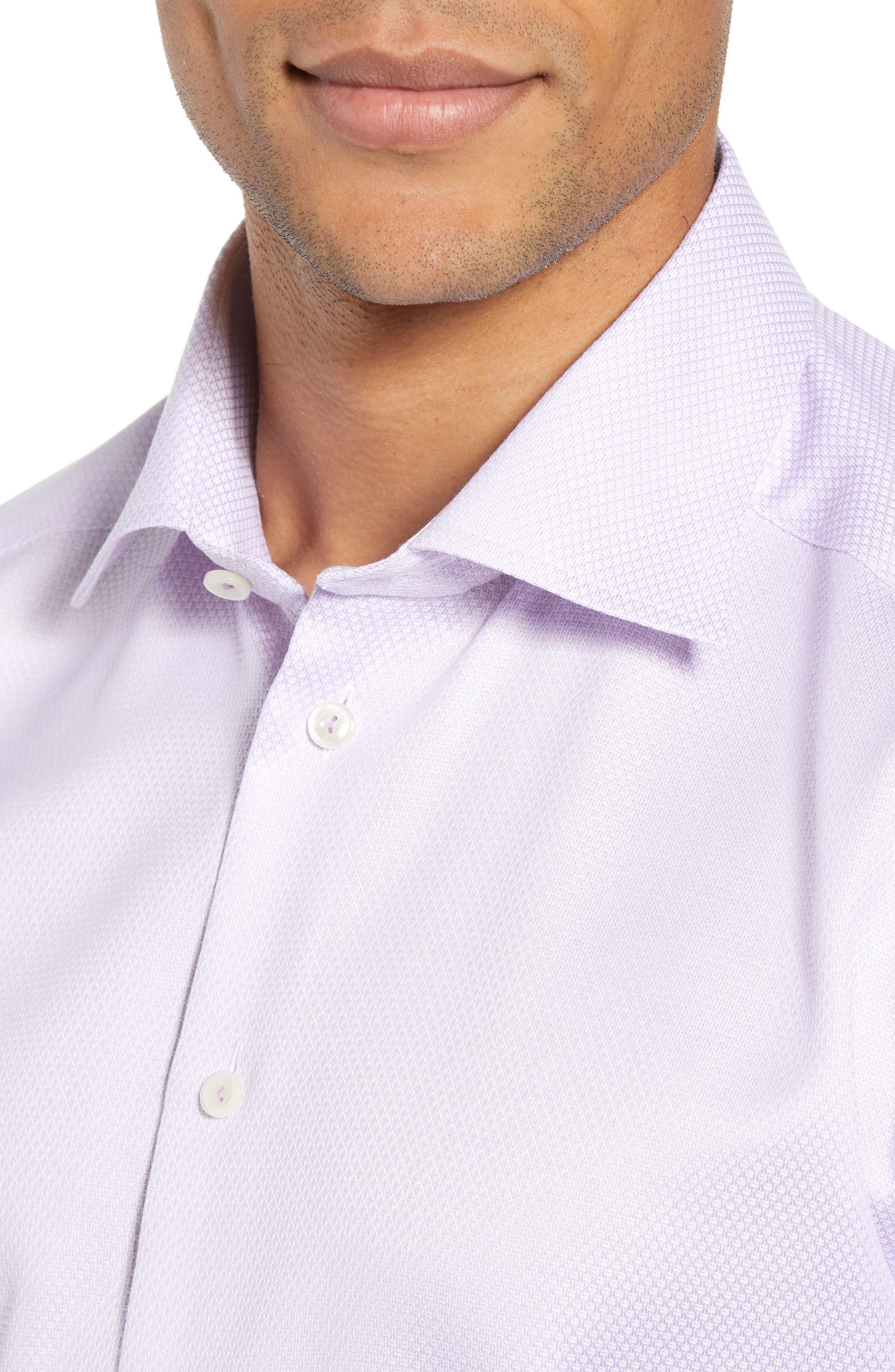 Slim Fit Textured Solid Dress Shirt,                             Alternate thumbnail 2, color,                             PURPLE