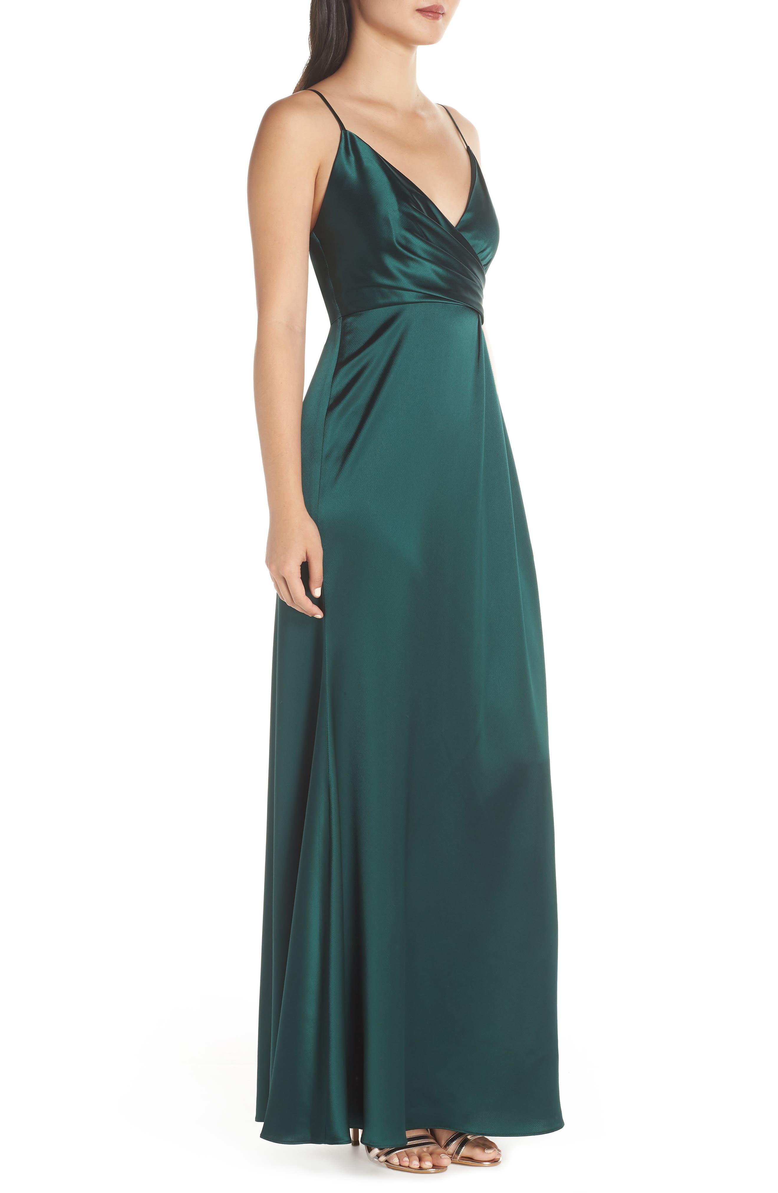 Faux Wrap Satin Gown,                             Alternate thumbnail 3, color,                             SPRUCE
