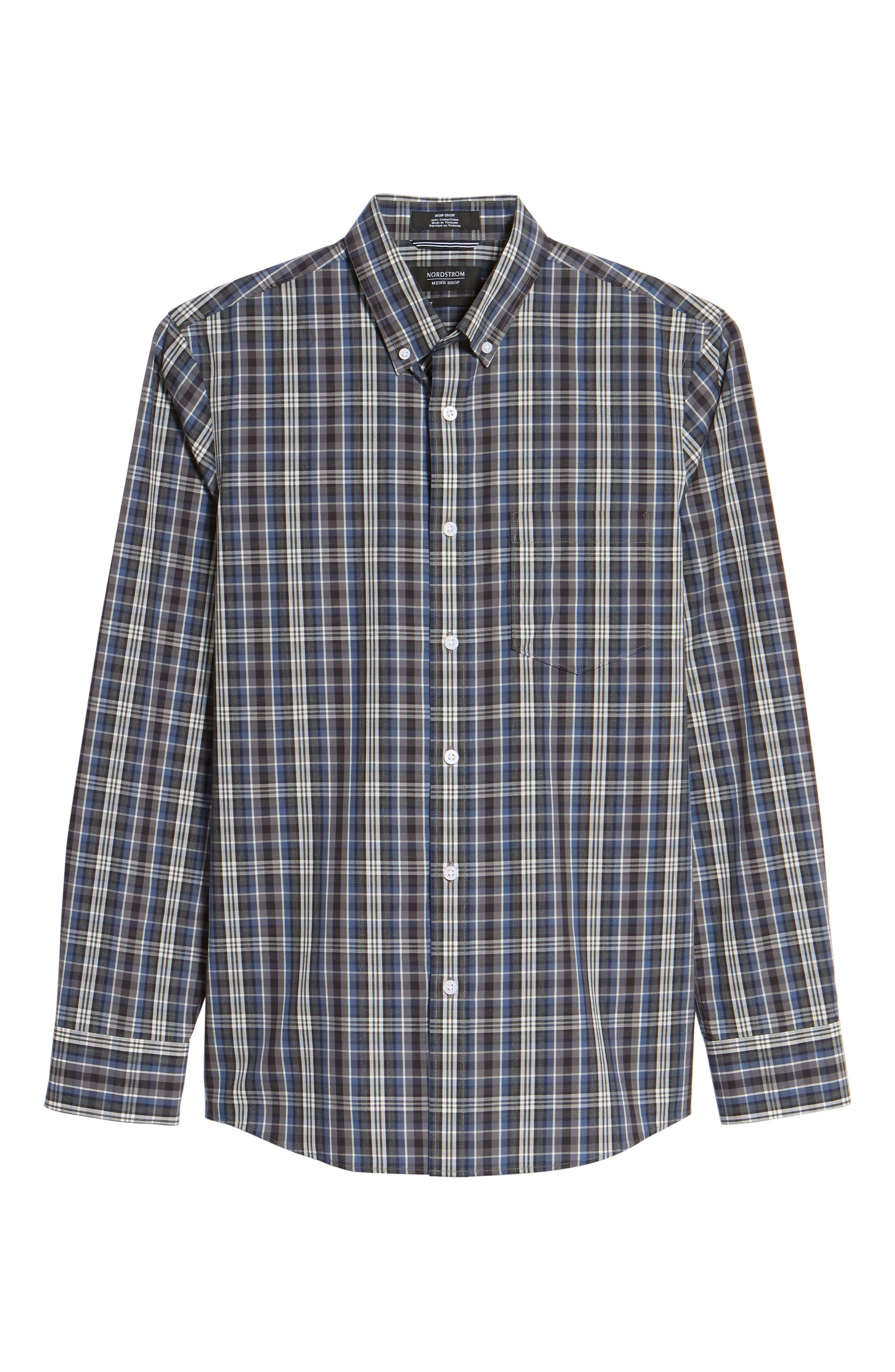 Non-Iron Trim Fit Check Sport Shirt,                             Alternate thumbnail 6, color,