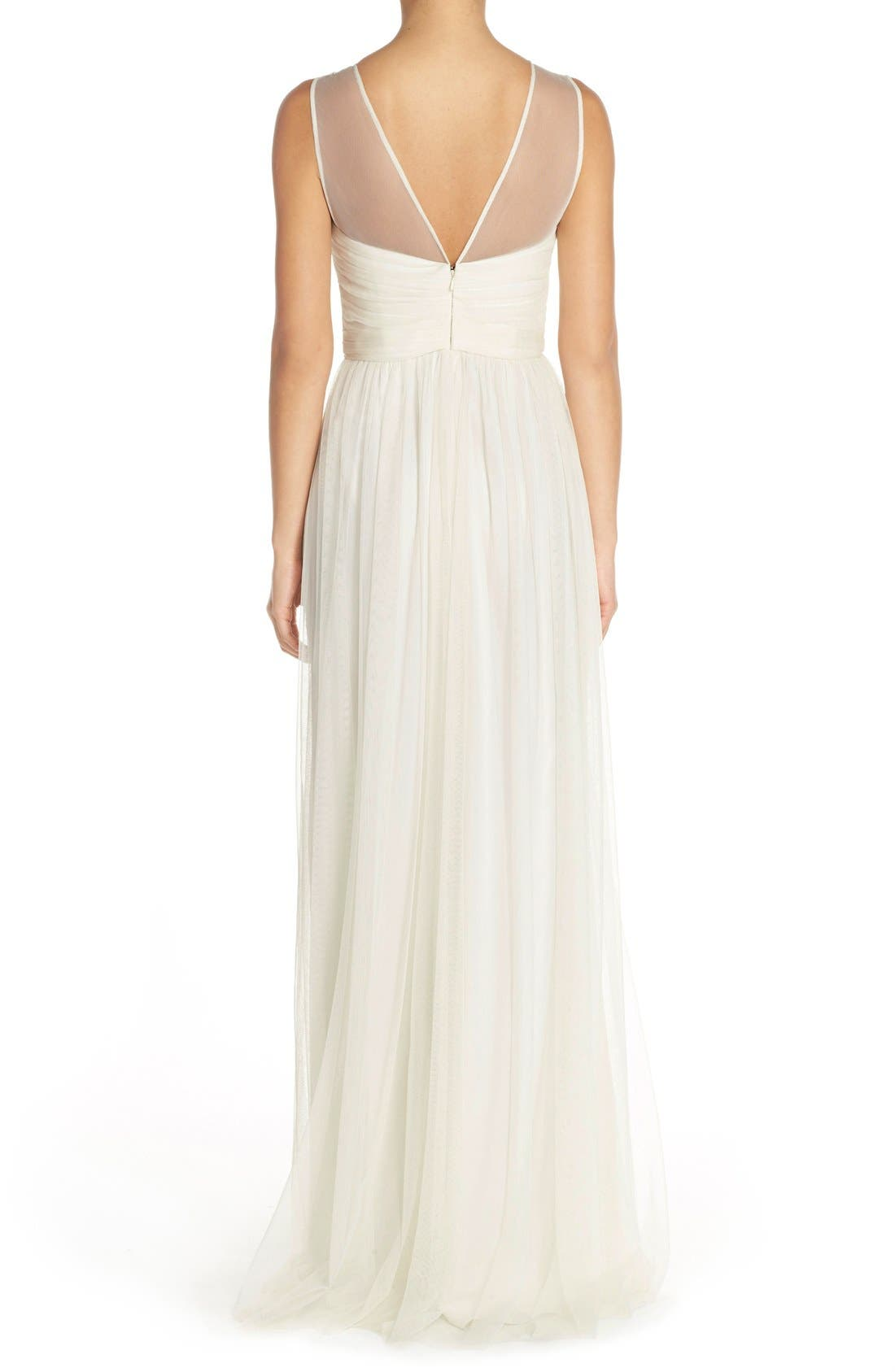 'Alyce' Illusion V-Neck Pleat Tulle Gown,                             Alternate thumbnail 7, color,