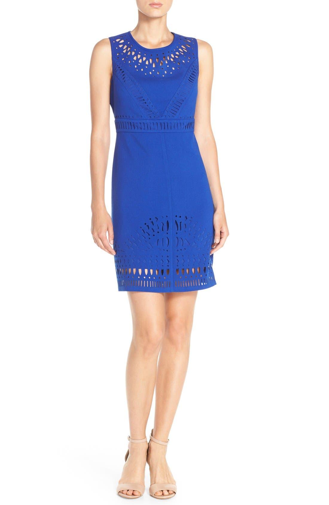 Laser Cut Crepe Sheath Dress,                             Alternate thumbnail 7, color,                             430