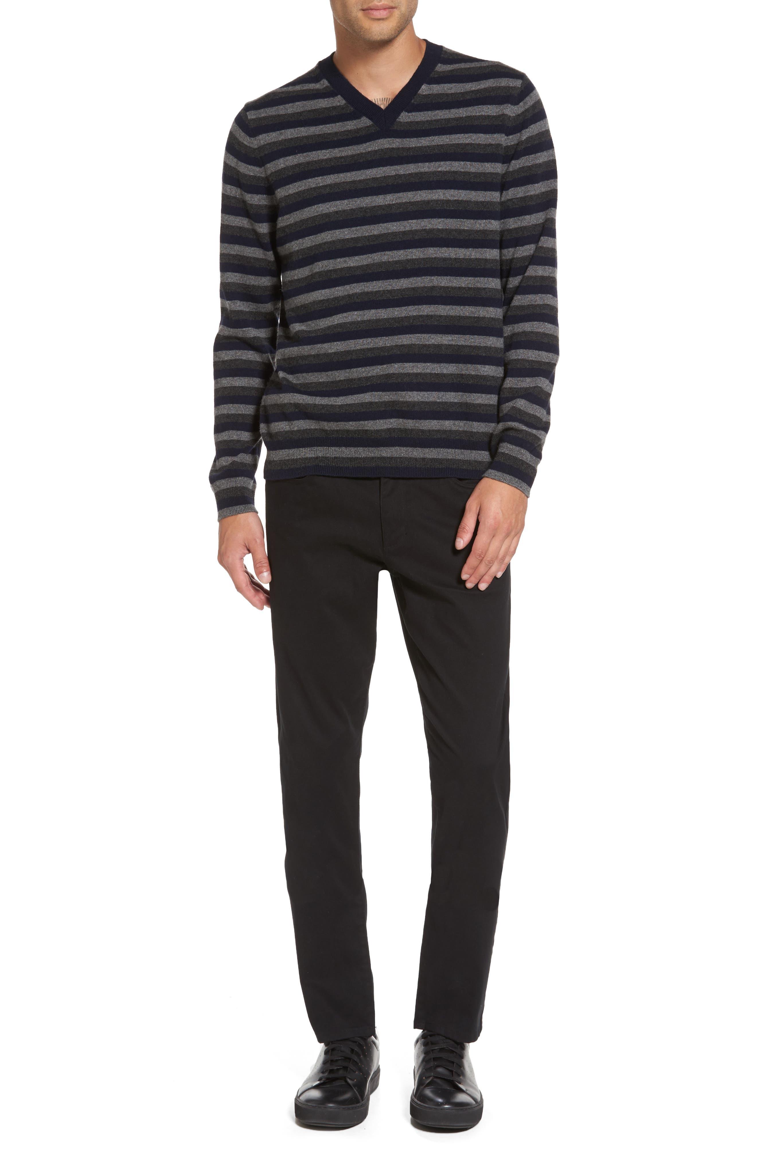 Stripe V-Neck Cashmere Sweater,                             Alternate thumbnail 7, color,                             406