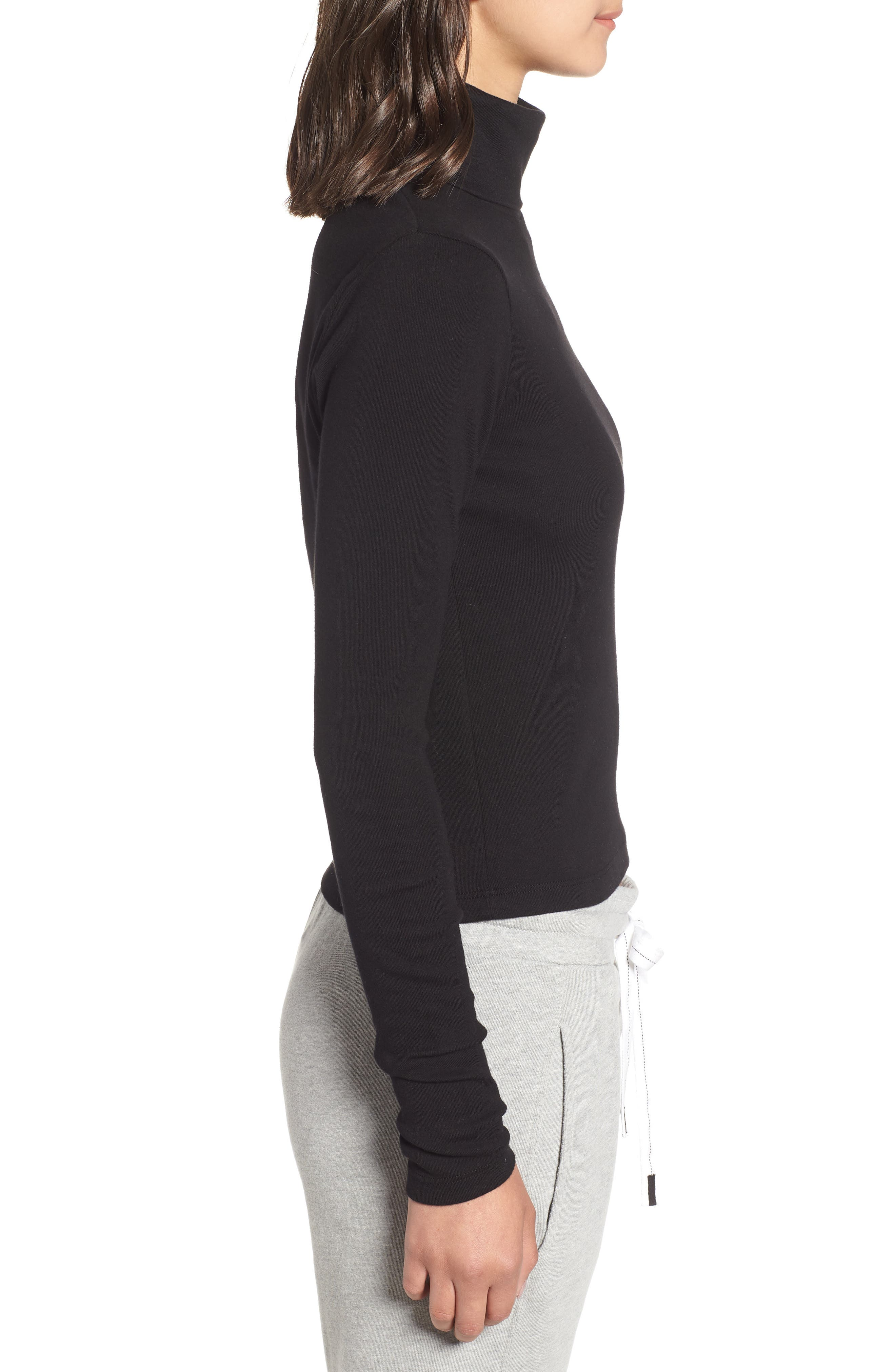 Turtleneck Stretch Cotton Crop Top,                             Alternate thumbnail 3, color,                             001
