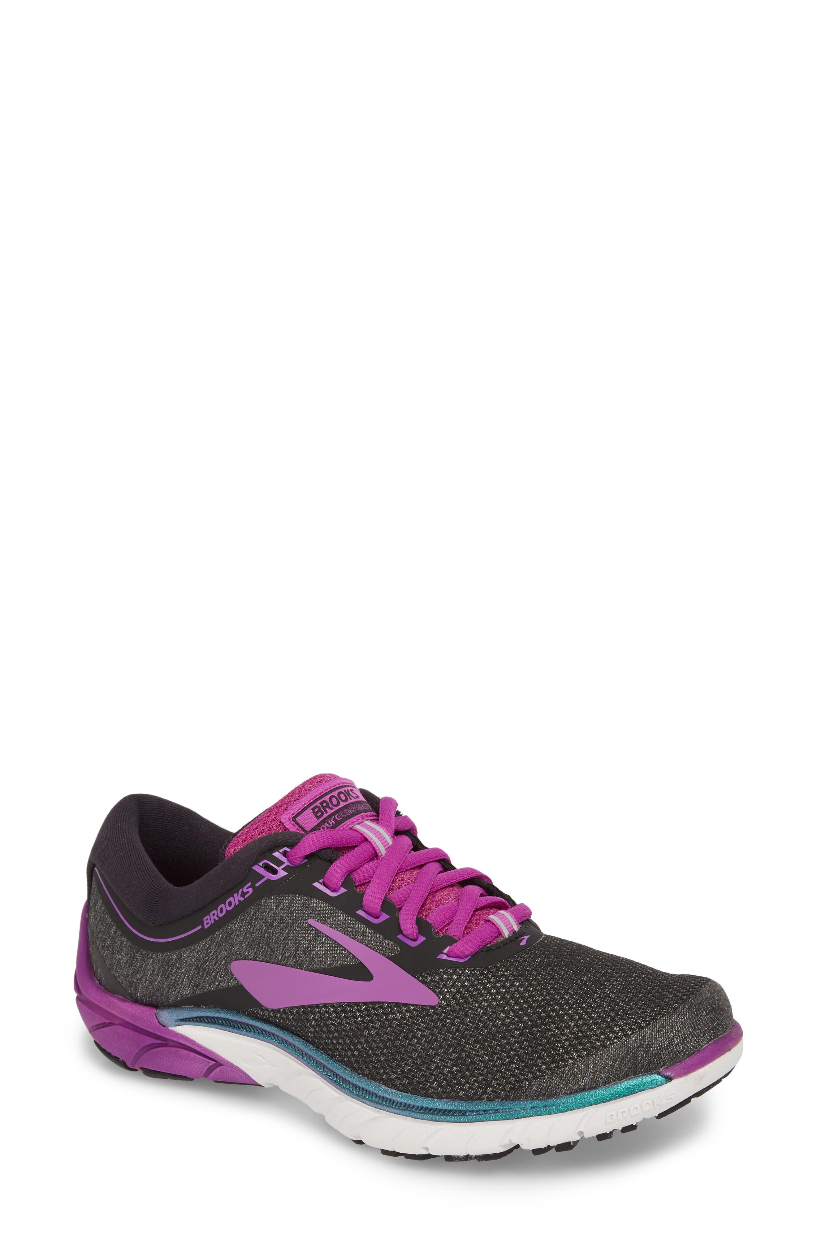 PureCadence 7 Road Running Shoe,                             Main thumbnail 1, color,                             BLACK/ PURPLE/ MULTI