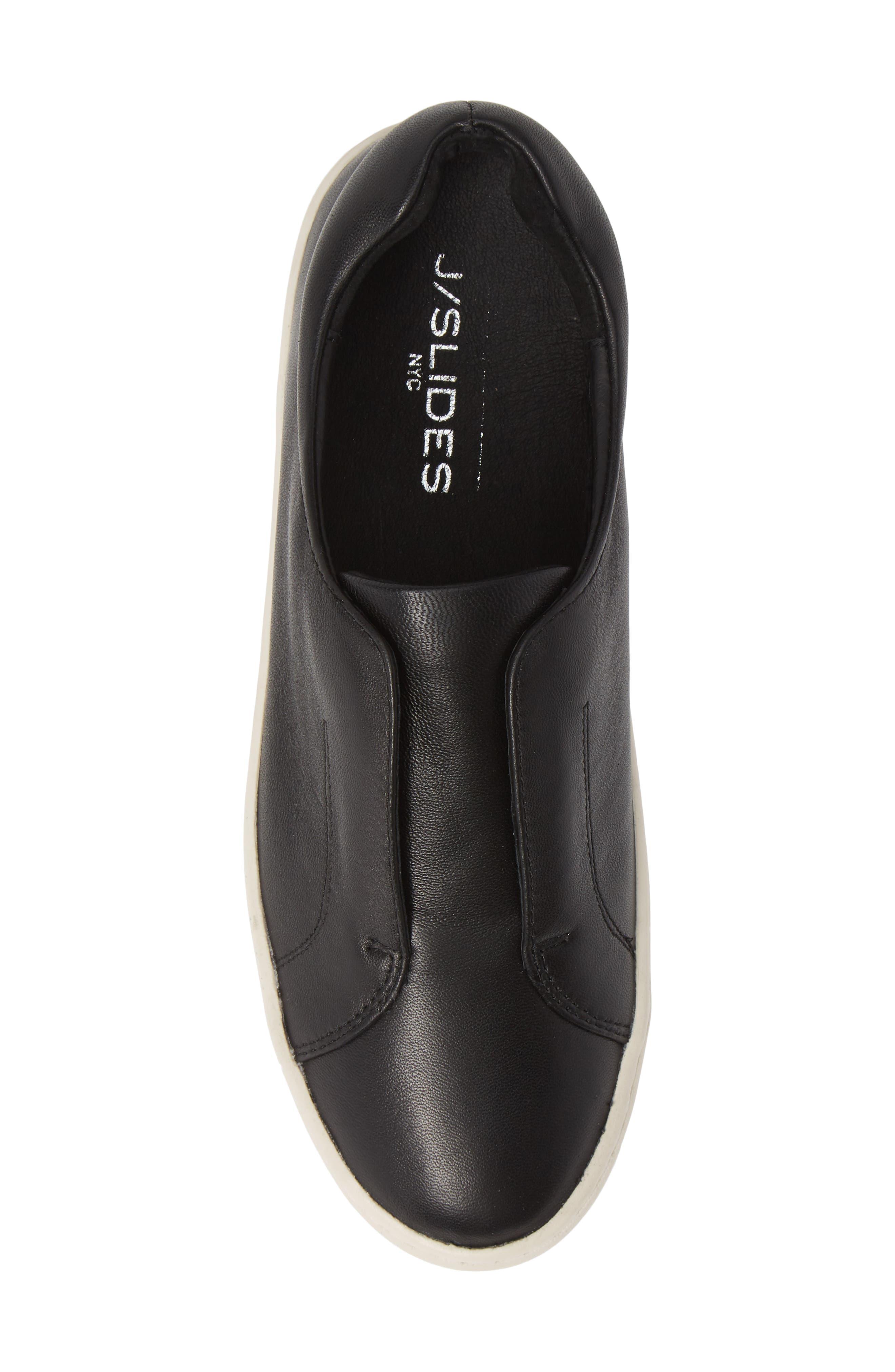 JSLIDES,                             Heidi Platform Slip-On Sneaker,                             Alternate thumbnail 5, color,                             BLACK LEATHER