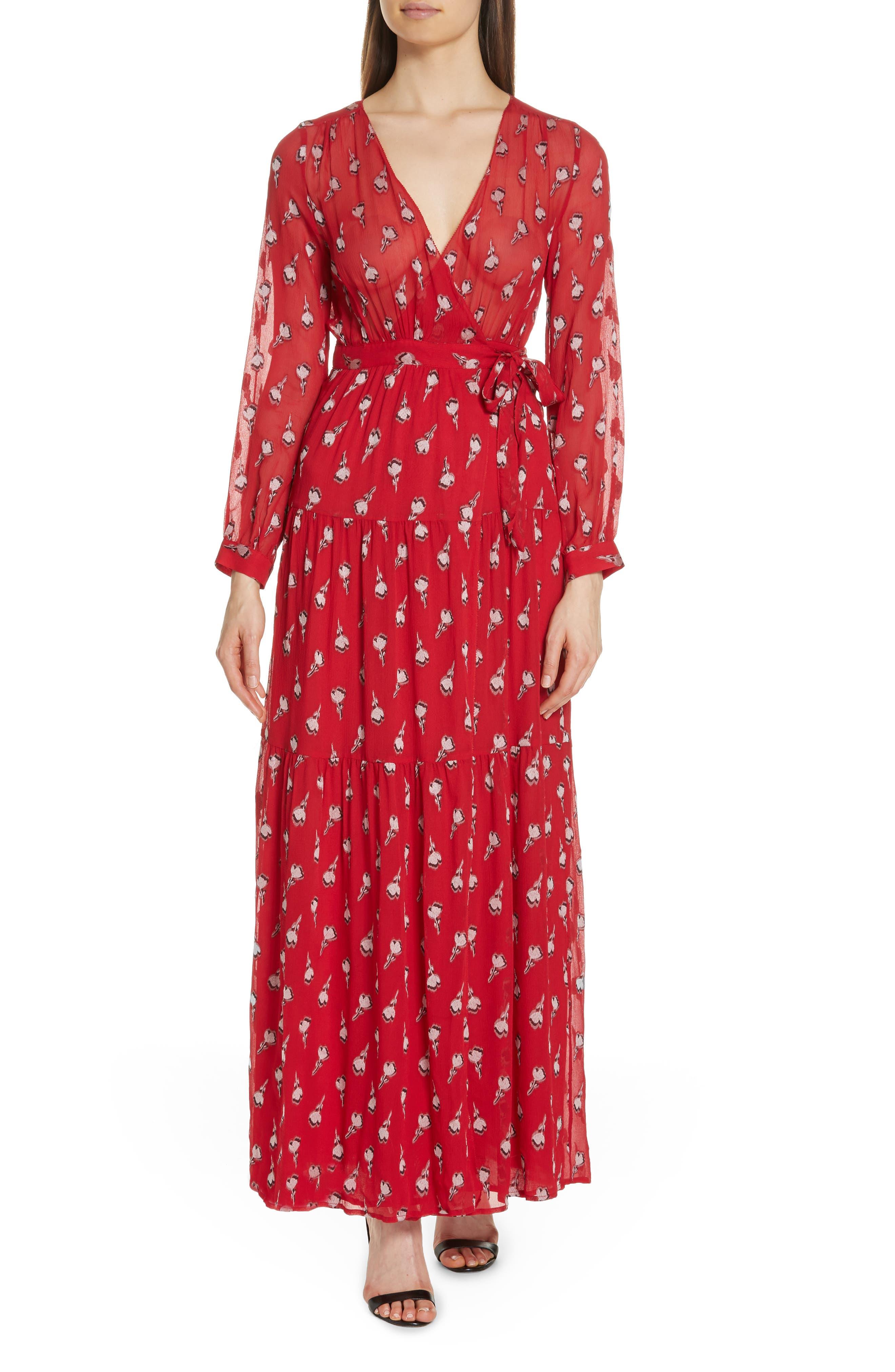 Madona Floral Surplice Silk Blend Chiffon Maxi Dress,                         Main,                         color, 600
