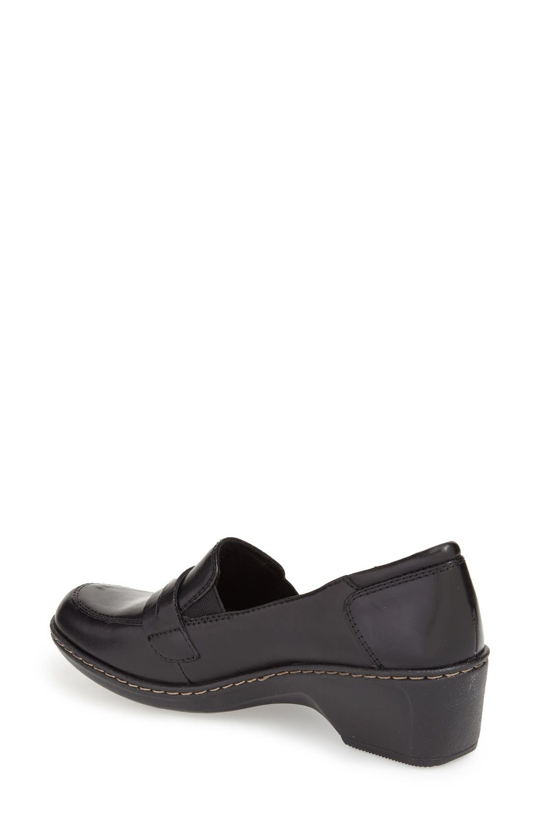 Cobb Hill 'Deidre' Loafer,                             Alternate thumbnail 4, color,                             BLACK LEATHER