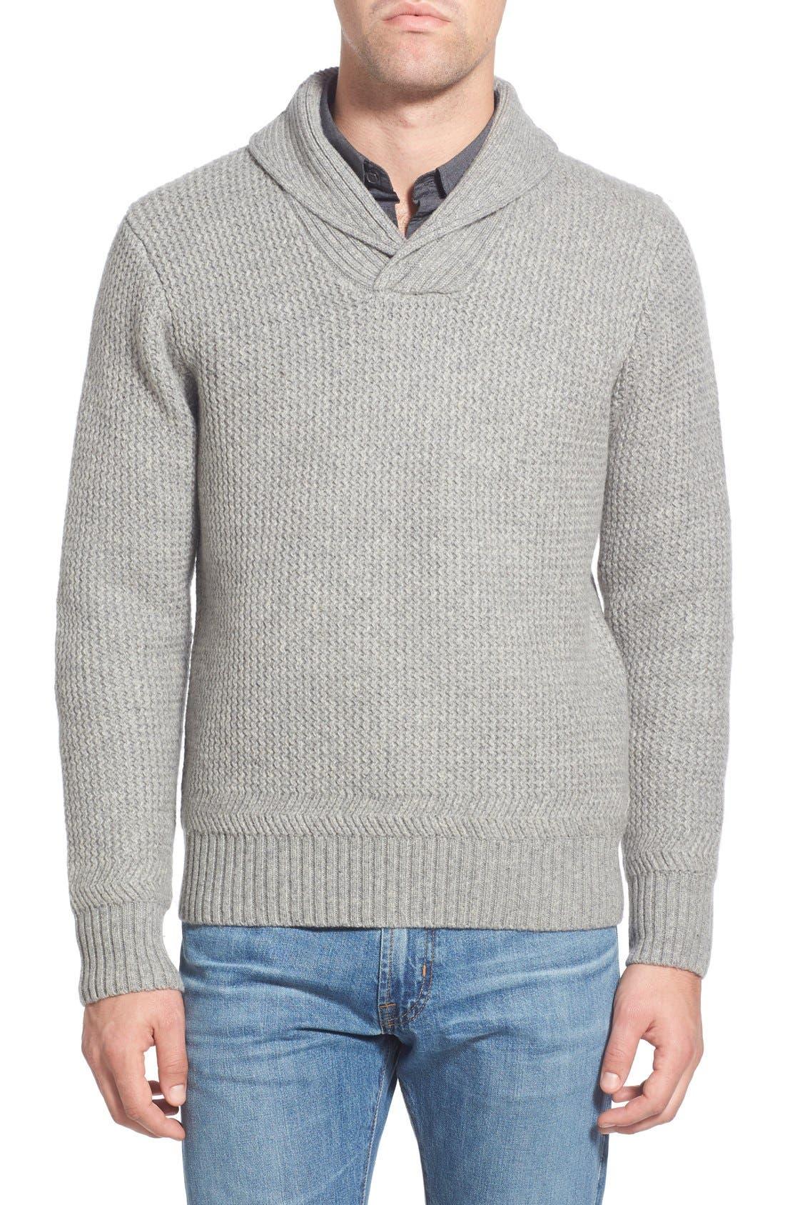Regular Fit Shawl Collar Sweater,                             Main thumbnail 1, color,
