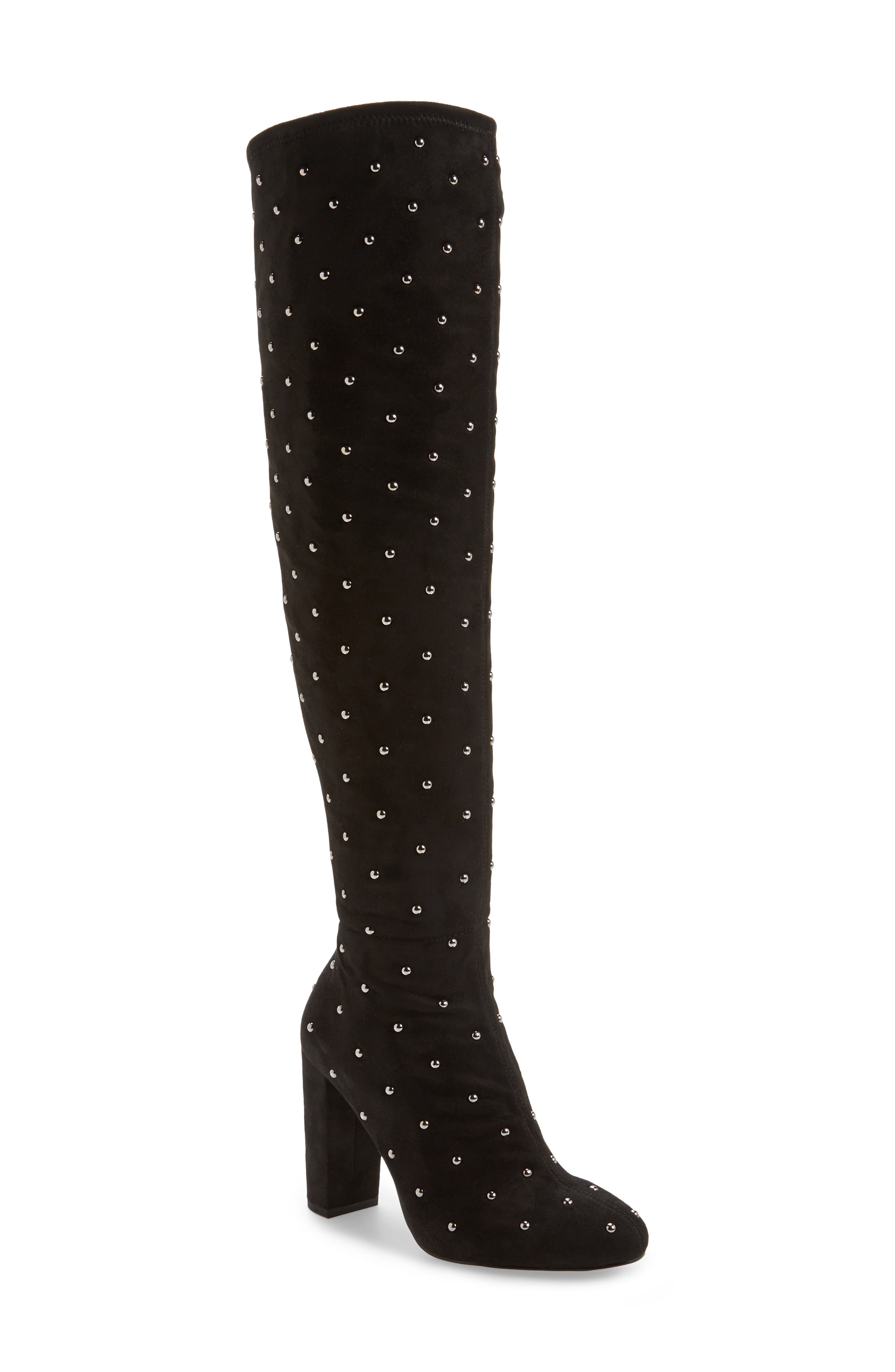 Bressy Studded Over the Knee Boot,                             Main thumbnail 1, color,                             001