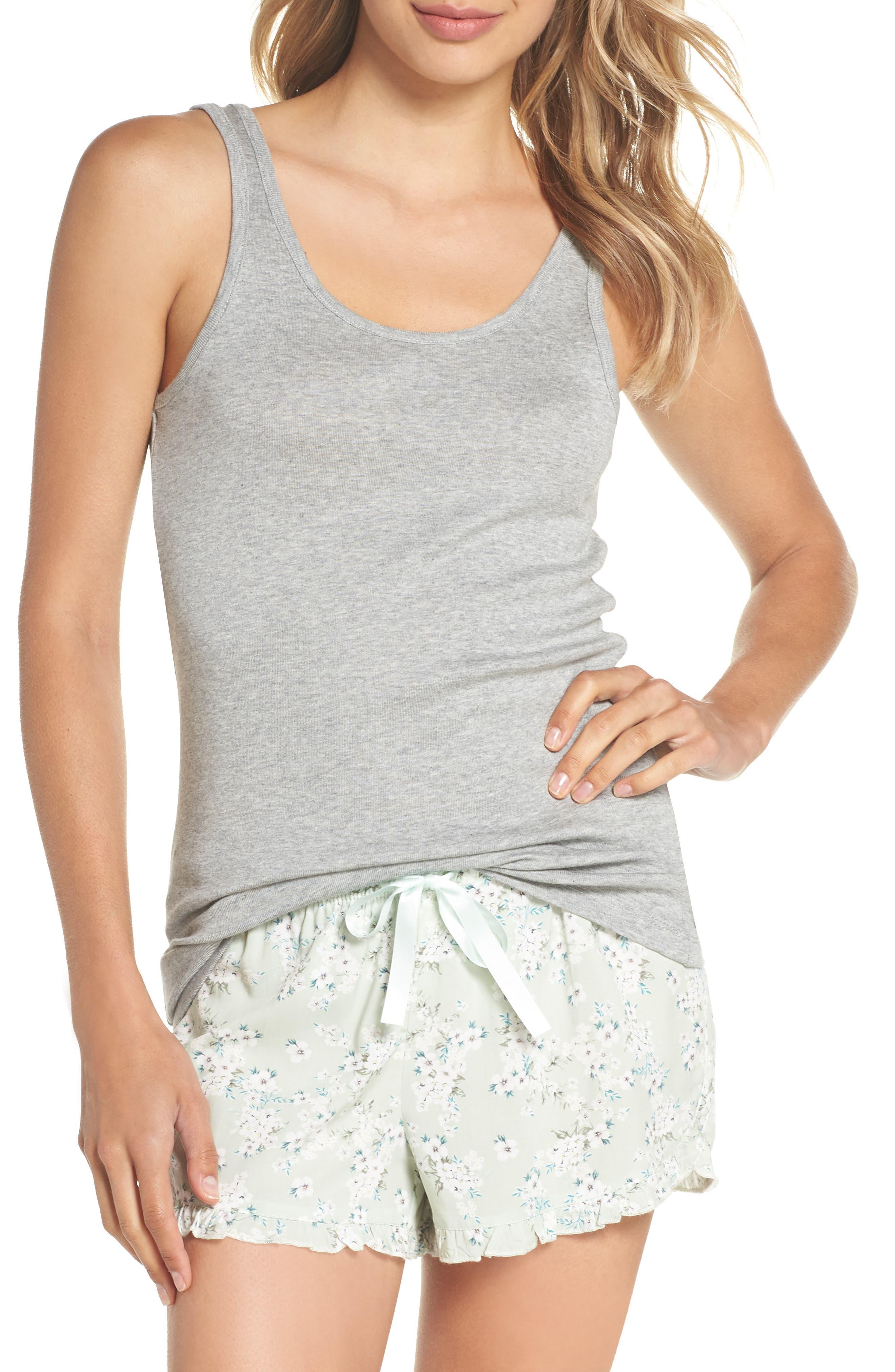 Tank & Boxers Pajamas,                         Main,                         color, SAGE/ GREY