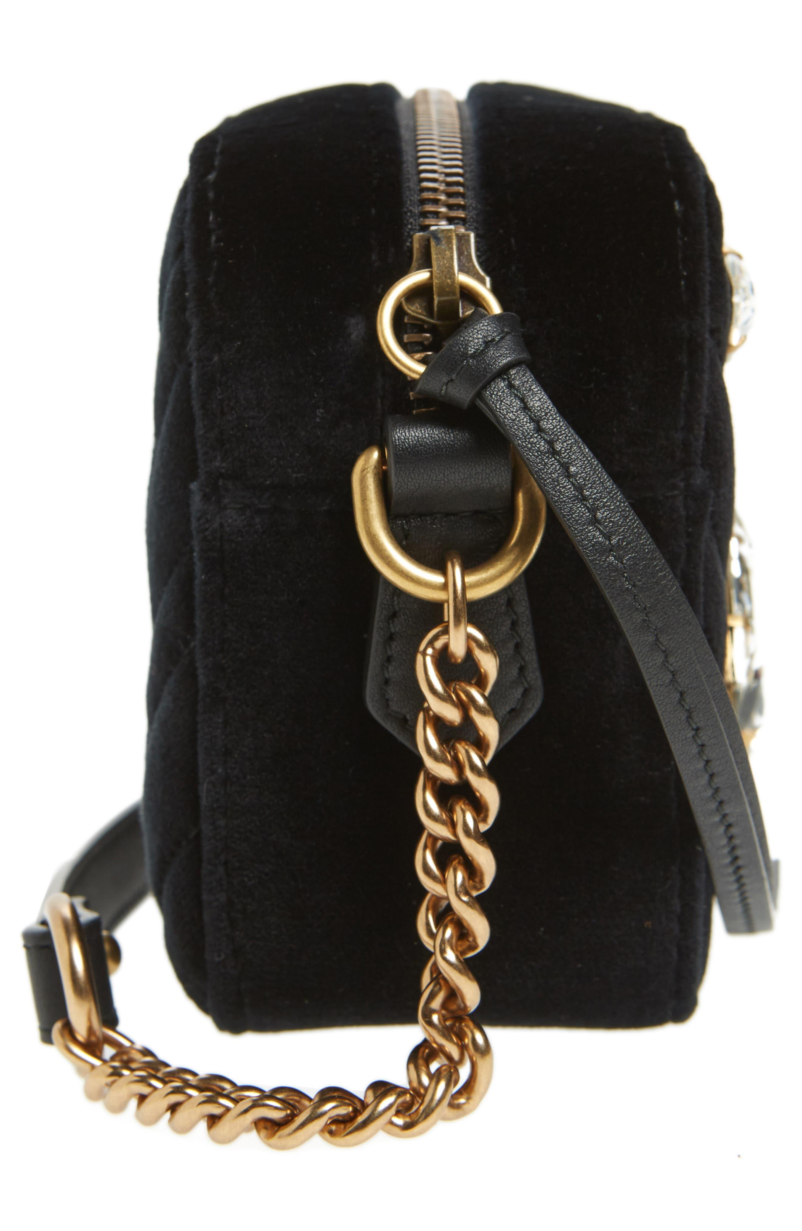 GG Marmont Crystal Matelassé Quilted Velvet Crossbody Bag,                             Alternate thumbnail 5, color,                             001
