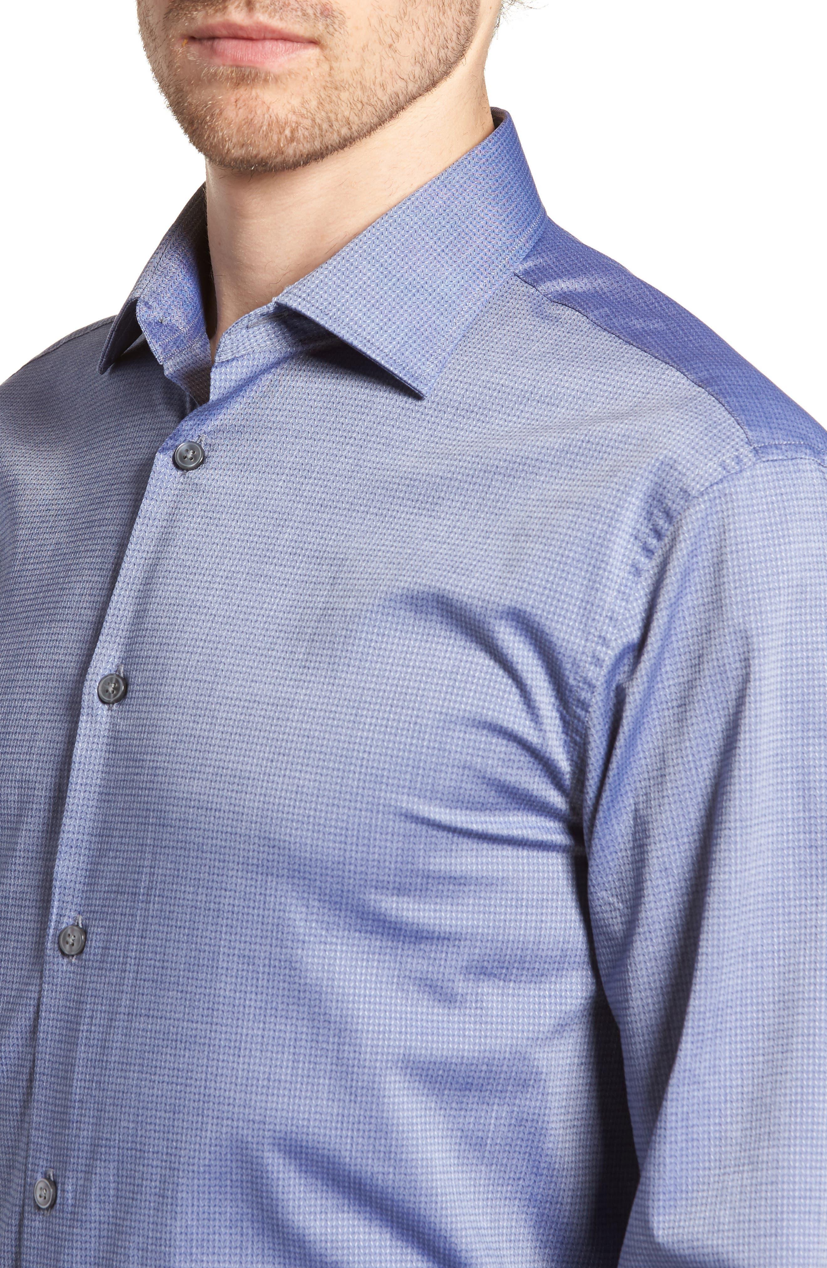 Regular Fit Stretch Print Dress Shirt,                             Alternate thumbnail 2, color,                             DEEP BLUE