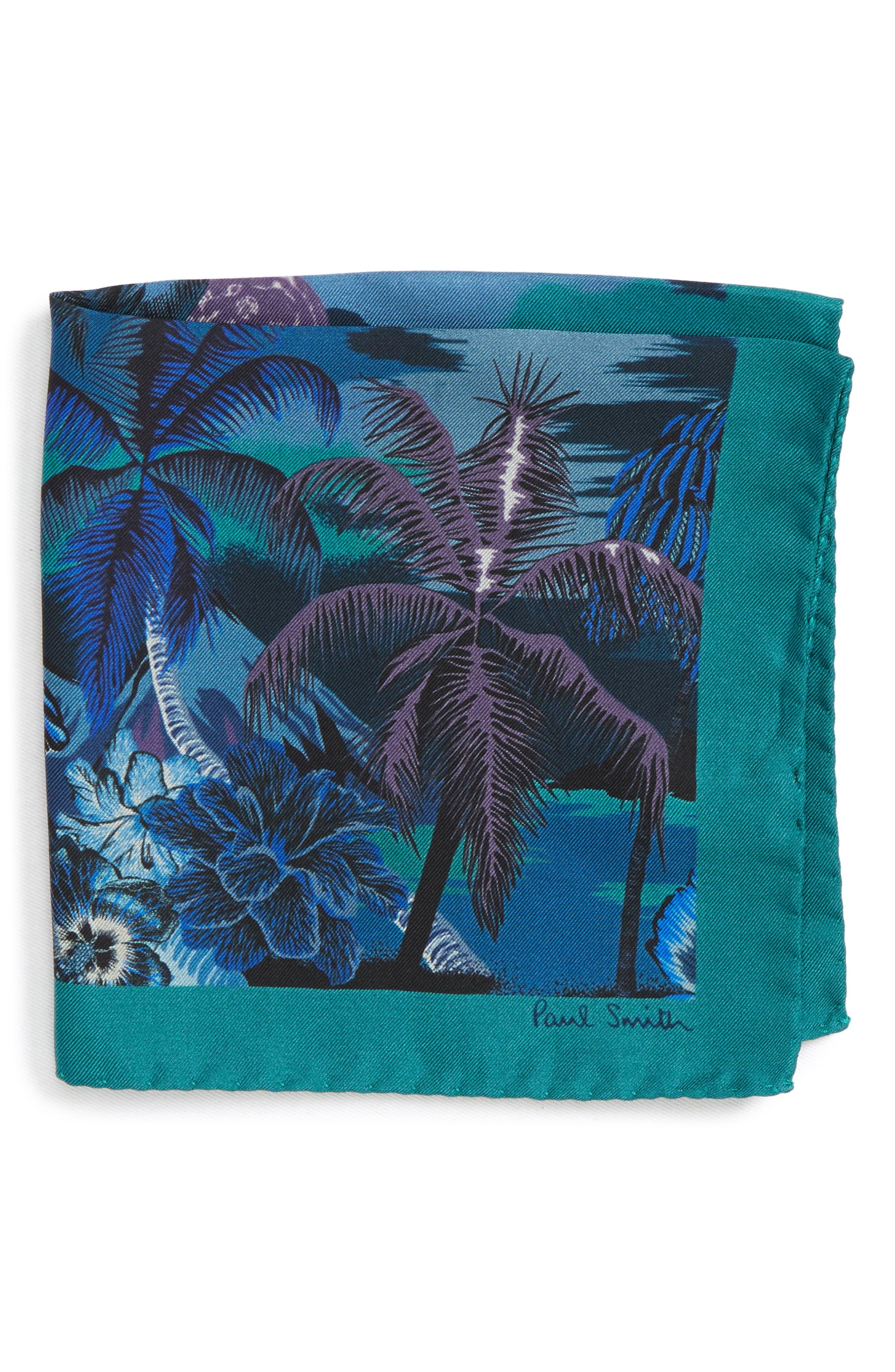 Luna Hawaiian Print Silk Pocket Square,                         Main,                         color, 400
