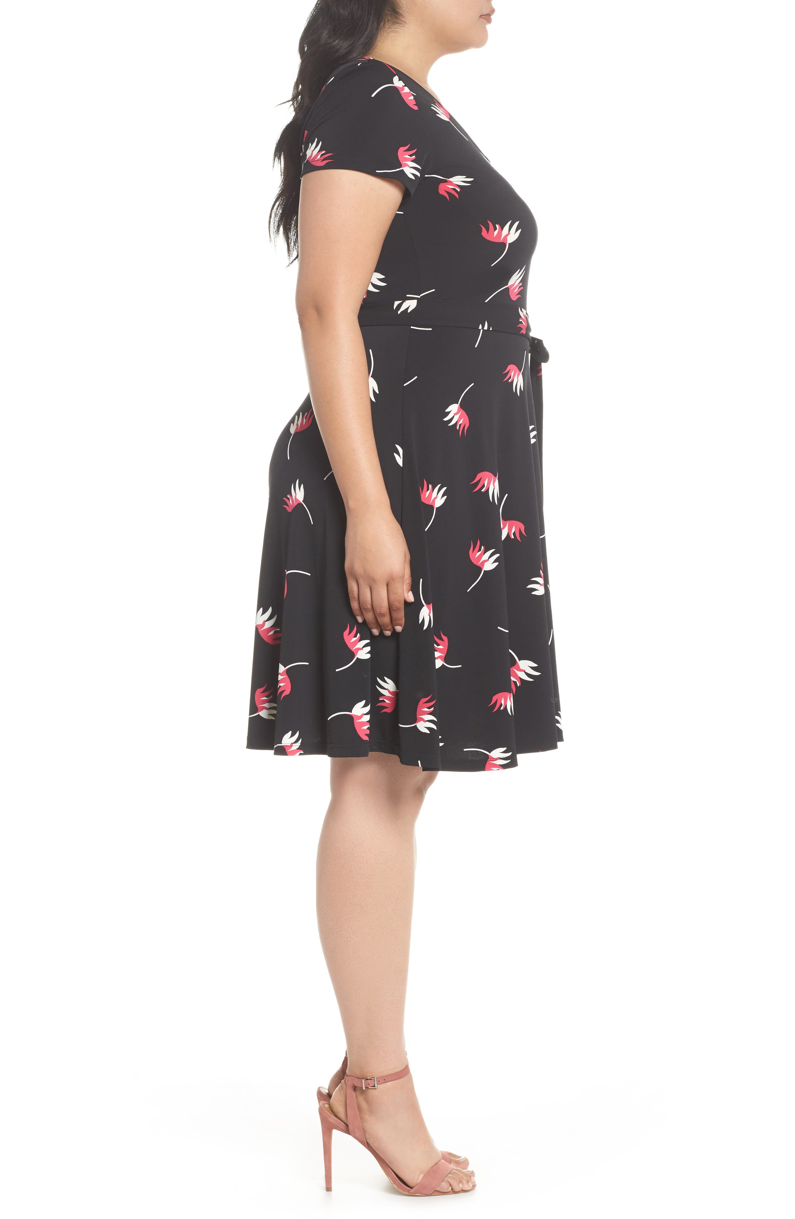 Llana Print Cap Sleeve A-Line Dress,                             Alternate thumbnail 3, color,                             008