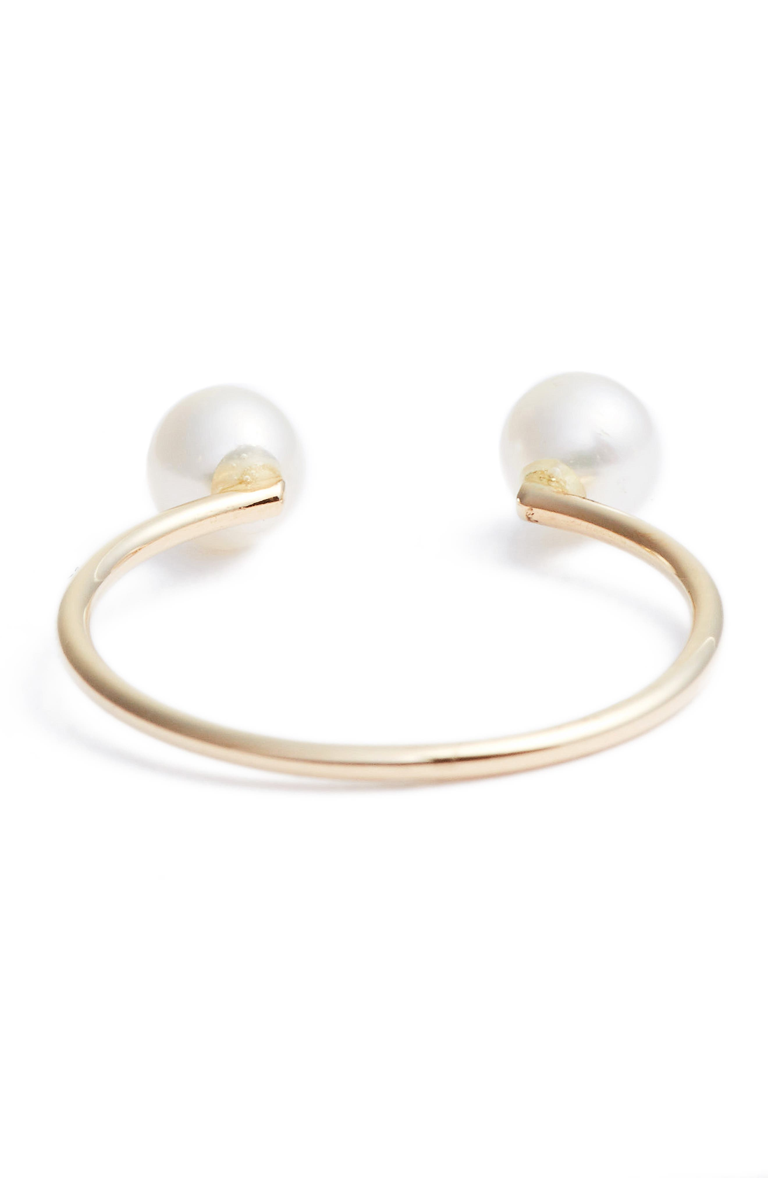Skinny Pearl Open Ring,                             Alternate thumbnail 3, color,                             YELLOW GOLD/ WHITE PEARL