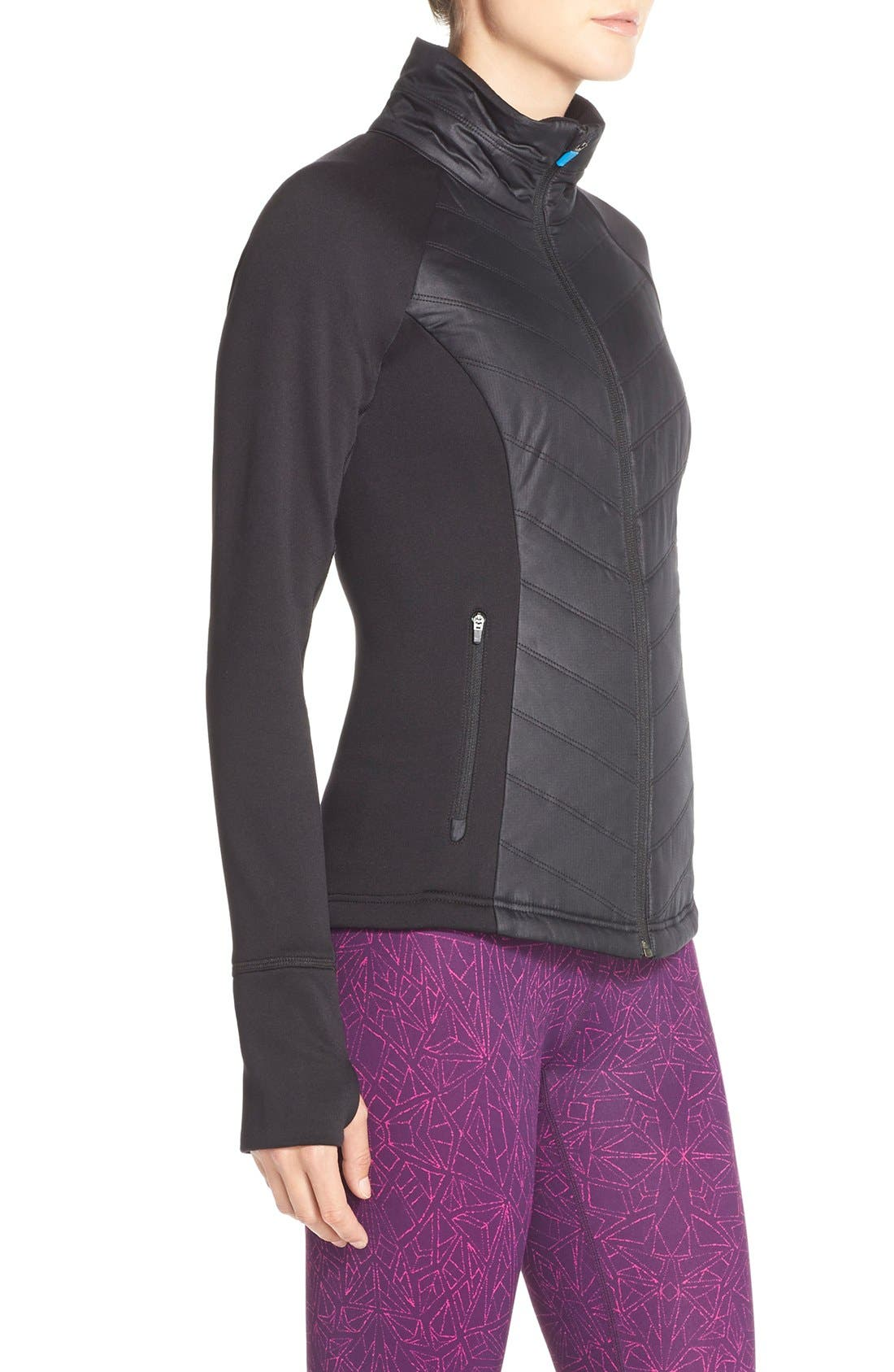 Zelfusion Reflective Quilted Jacket,                             Alternate thumbnail 12, color,                             001