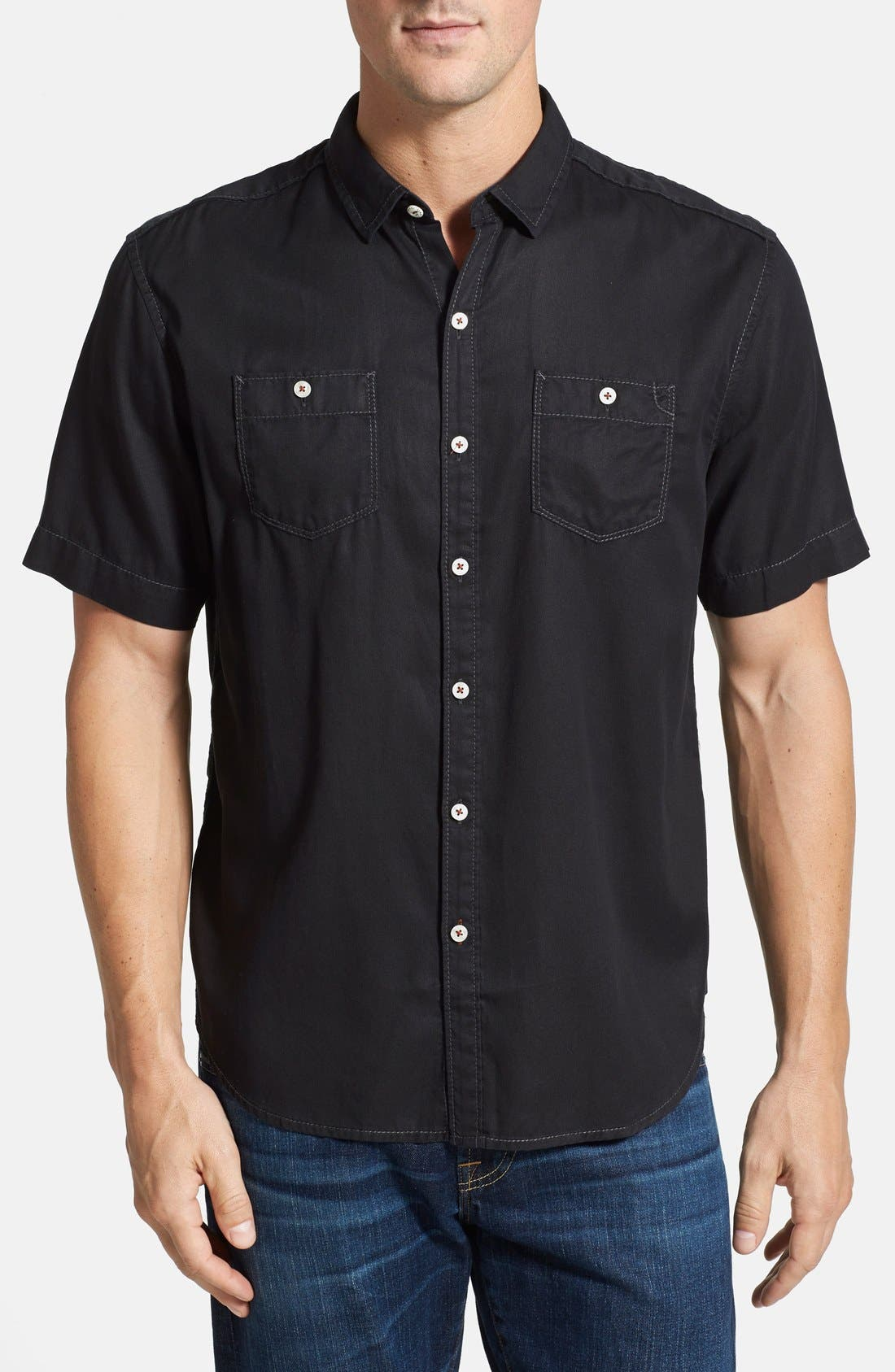 'New Twilly' Island Modern Fit Short Sleeve Twill Shirt,                             Main thumbnail 1, color,                             001