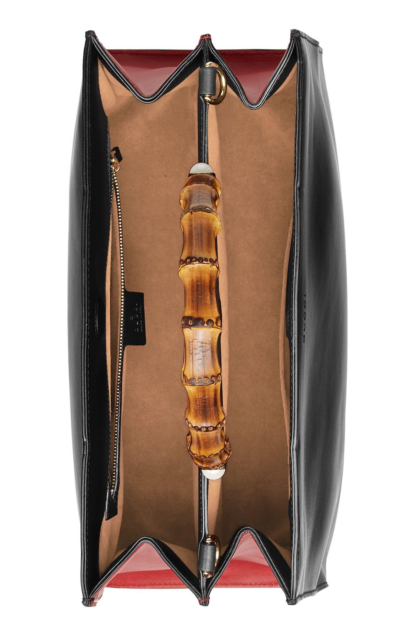 Large Nymphea Bicolor Leather Top Handle Satchel,                             Alternate thumbnail 3, color,                             001