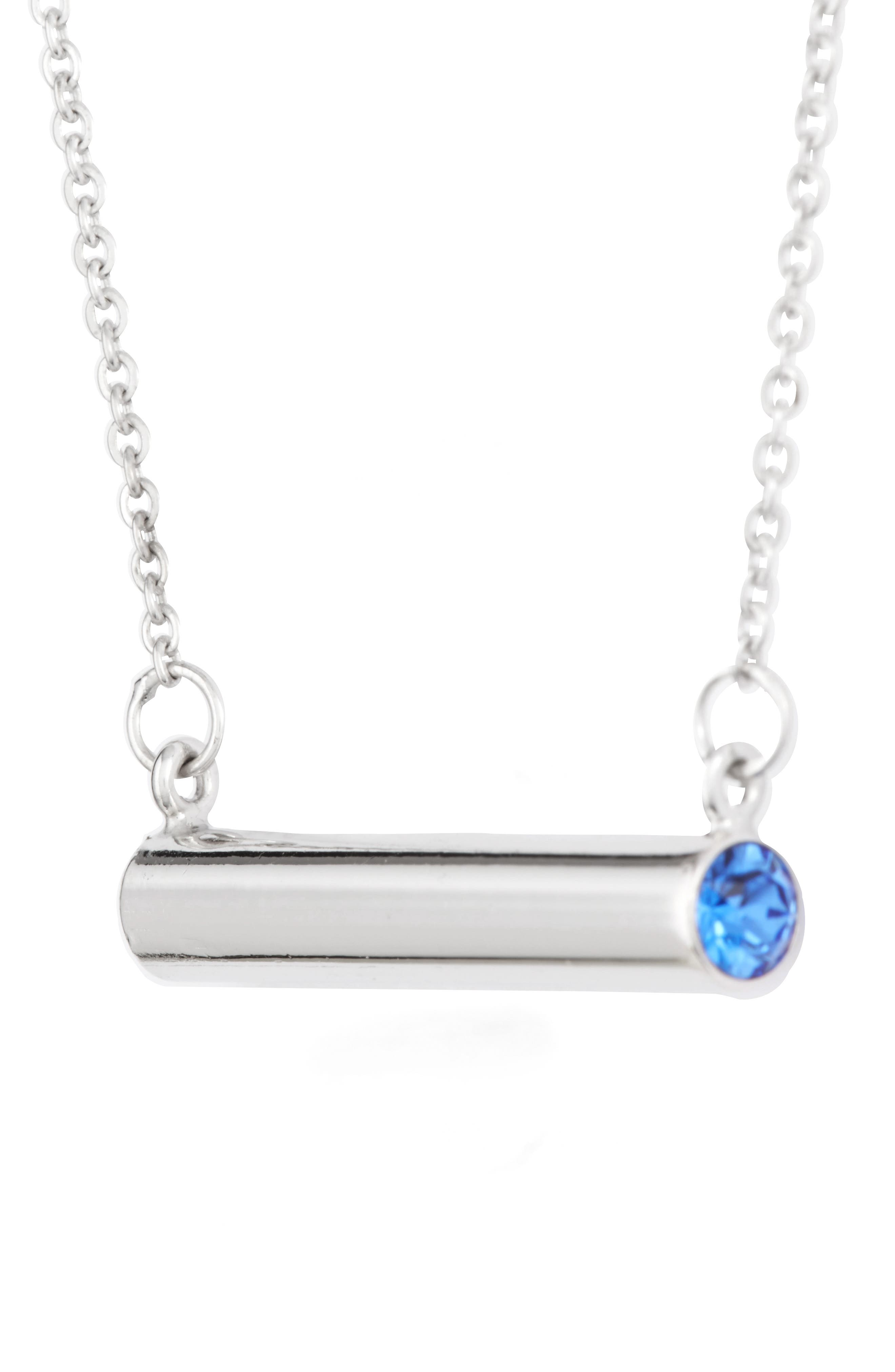 September Crystal Bar Pendant Necklace,                             Alternate thumbnail 3, color,                             040
