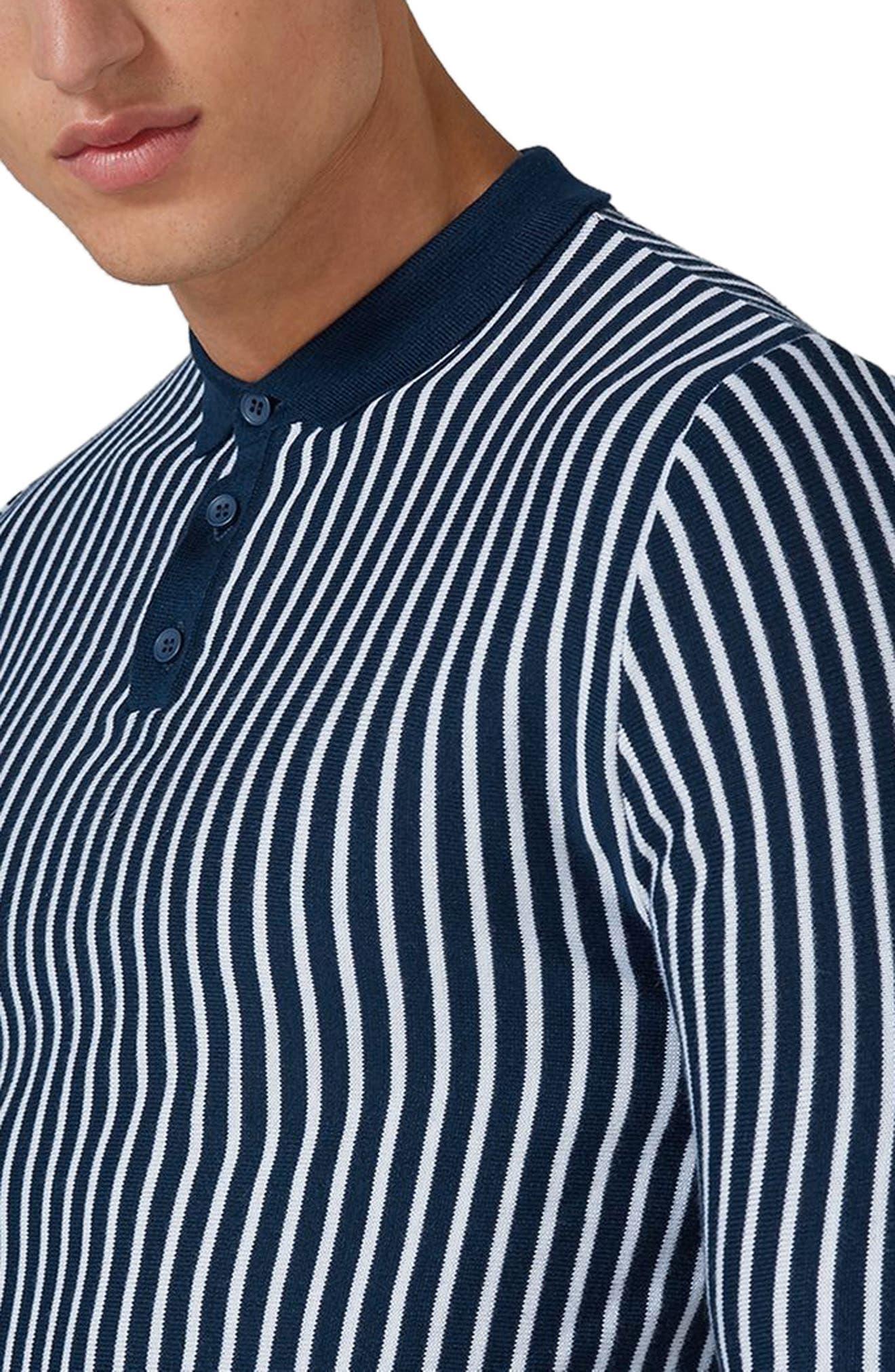 Stripe Knit Polo Sweater,                             Alternate thumbnail 3, color,                             410
