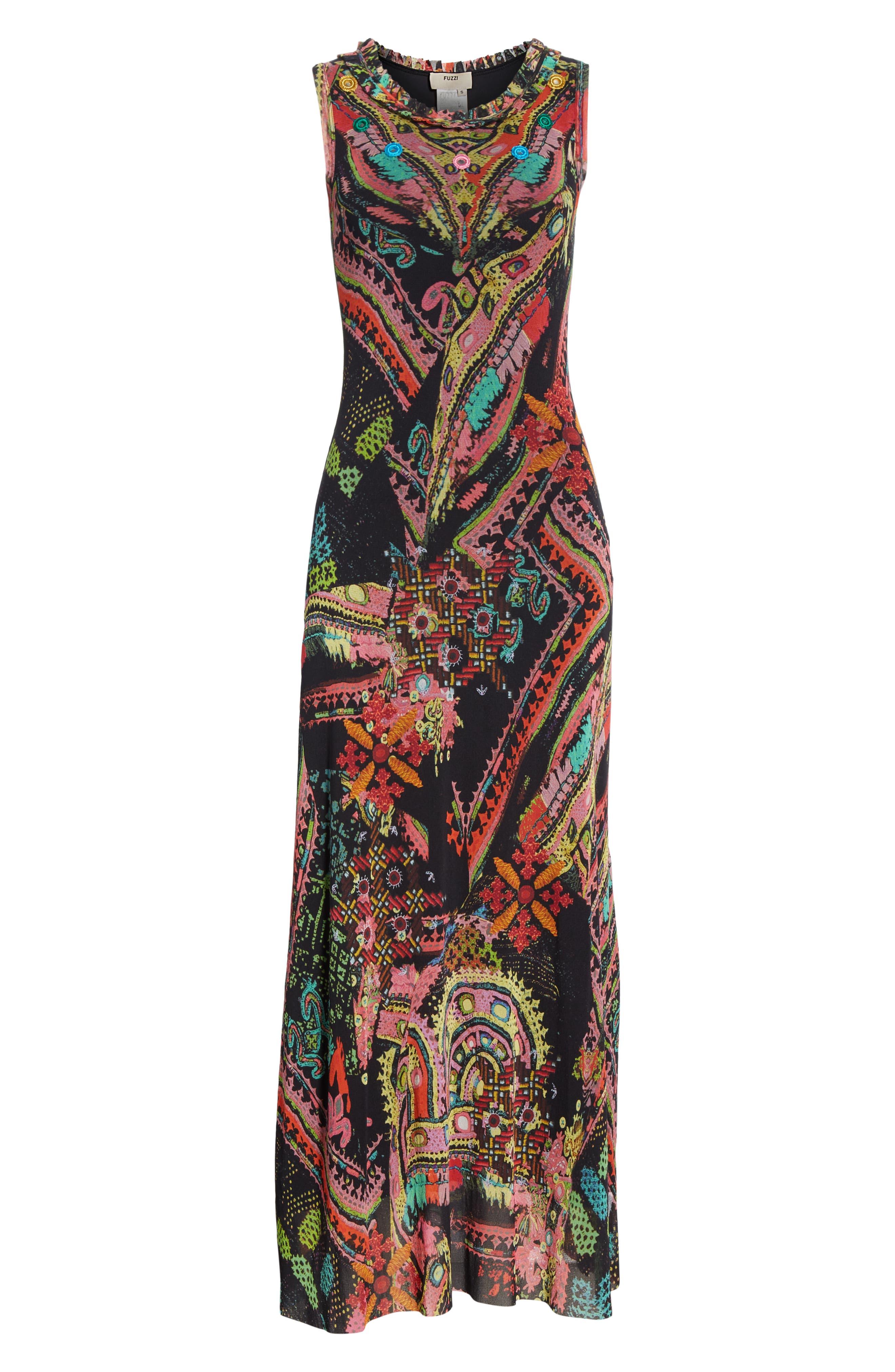 Print Tulle Maxi Dress,                             Alternate thumbnail 7, color,                             NERO
