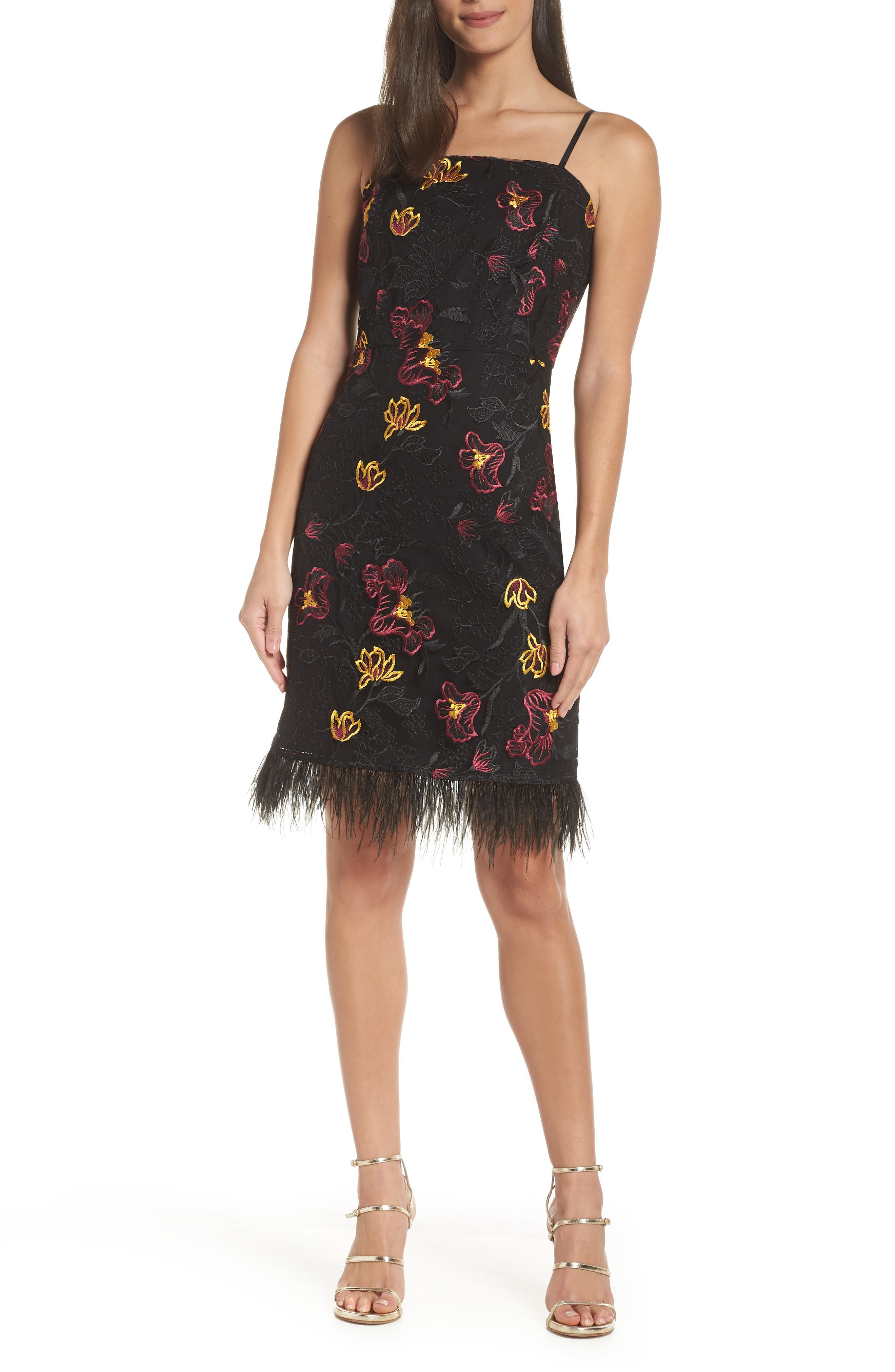 Sam Edelman Feather Trim Embroidered Mesh Sheath Dress, Black